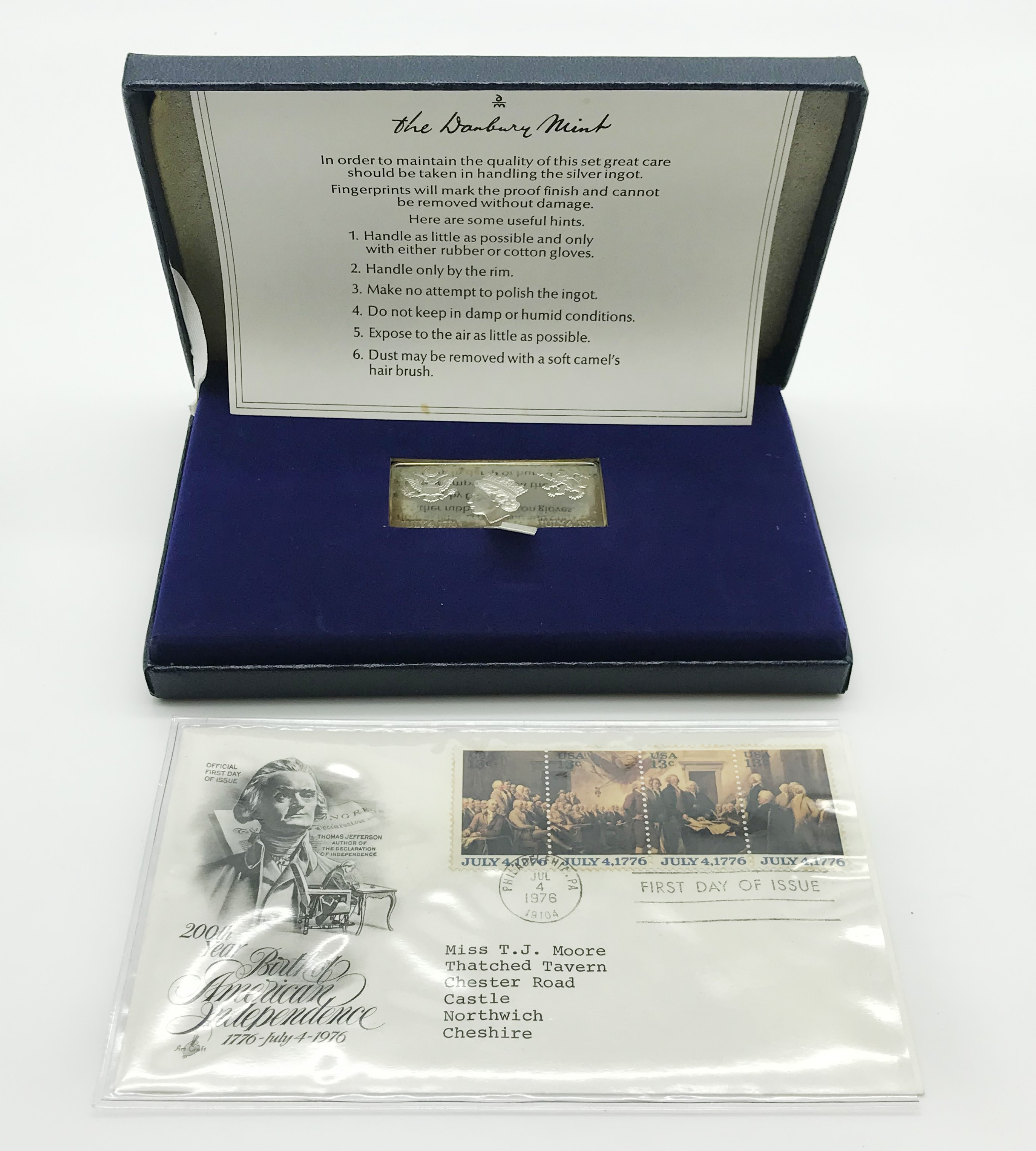 Lot 58 - 1976 HALLMARKED STERLING SILVER INGOT - 200 YEARS OF AMERICAN INDEPENDENCE