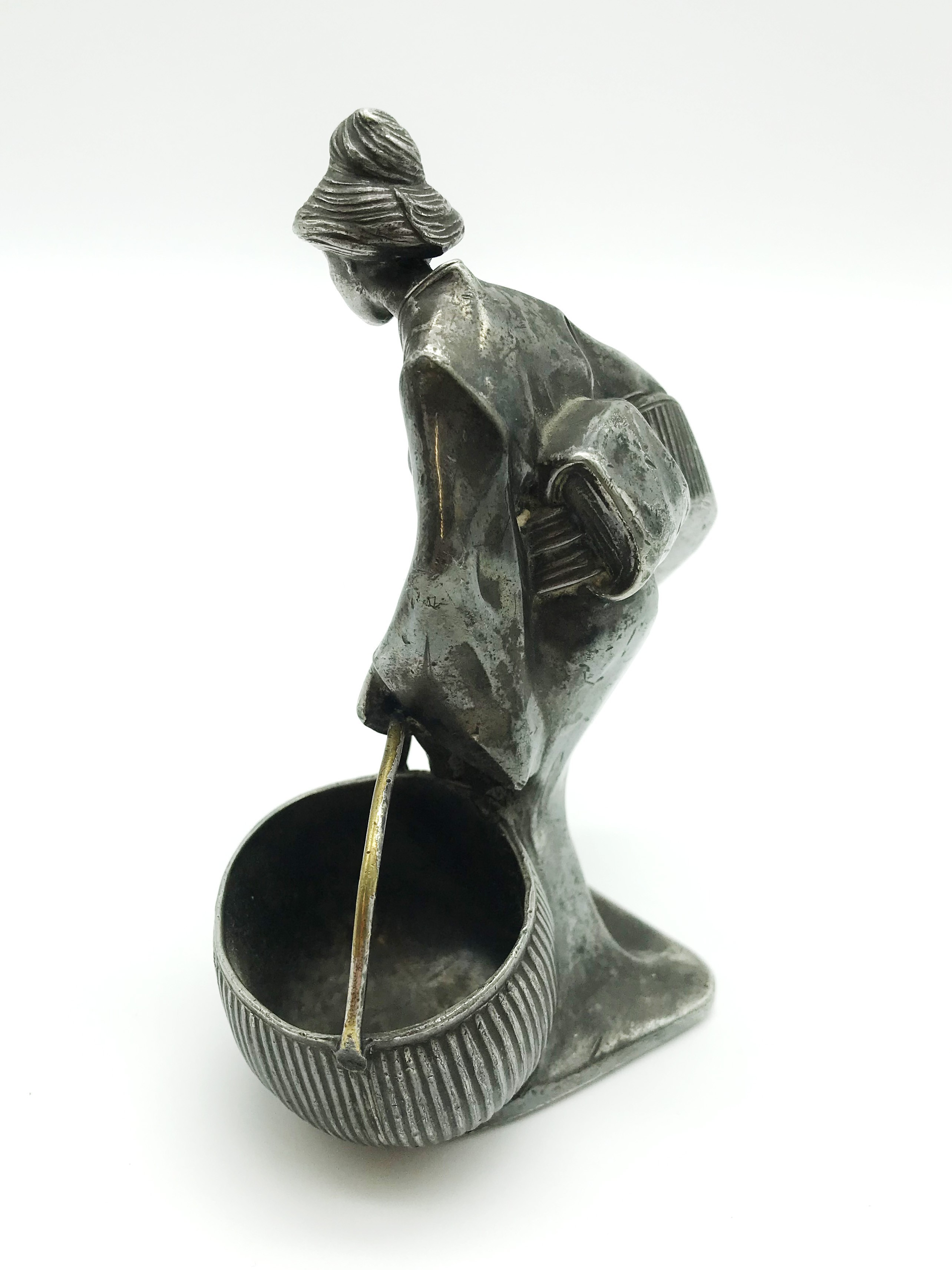 Lot 18 - WHITE METAL JAPANESE WOMEN WITH BASKETS FIGURINE