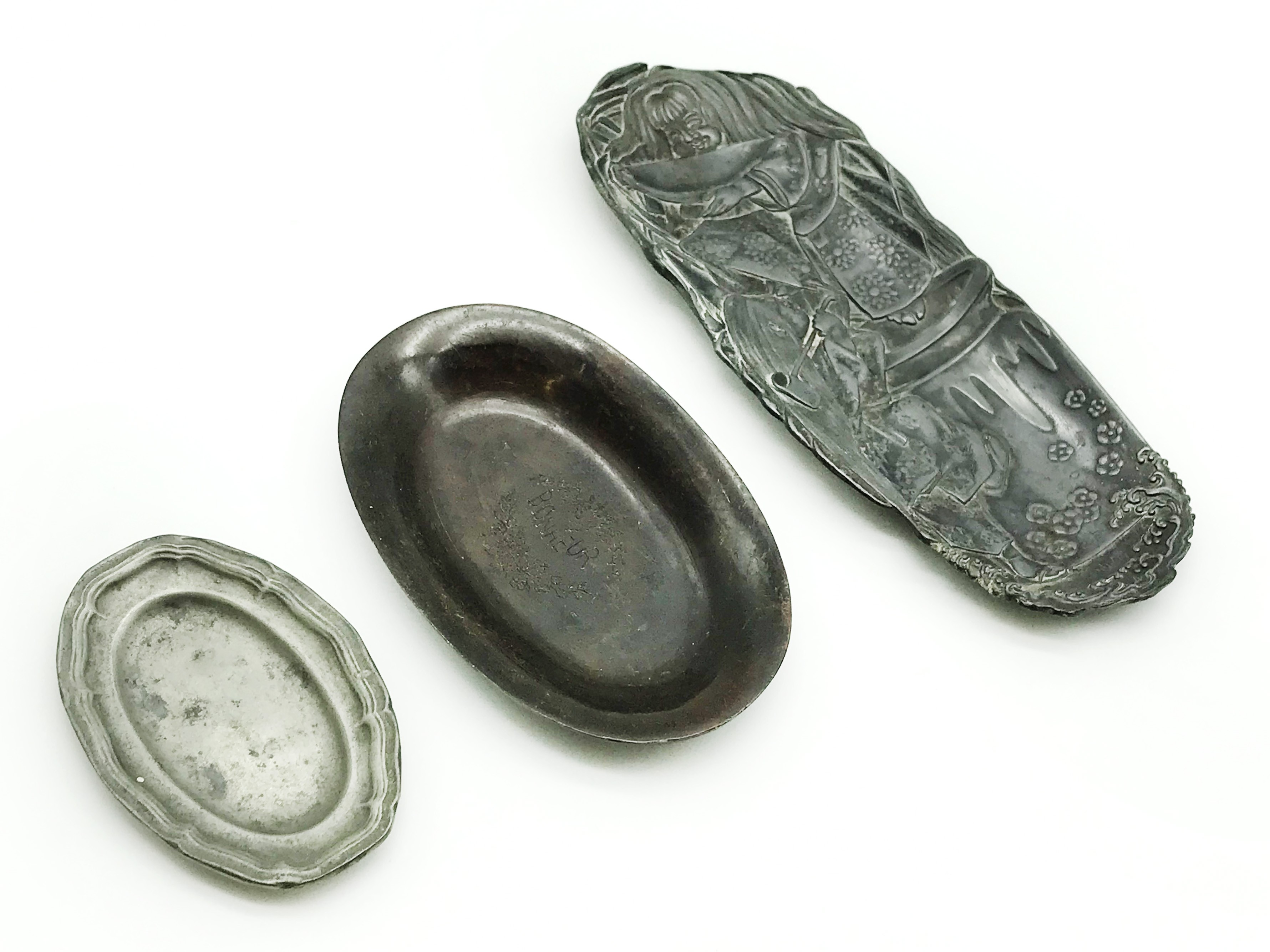 Lot 5 - THREE OLD PIN TRAYS / DISHES - BRONZE PEWTER
