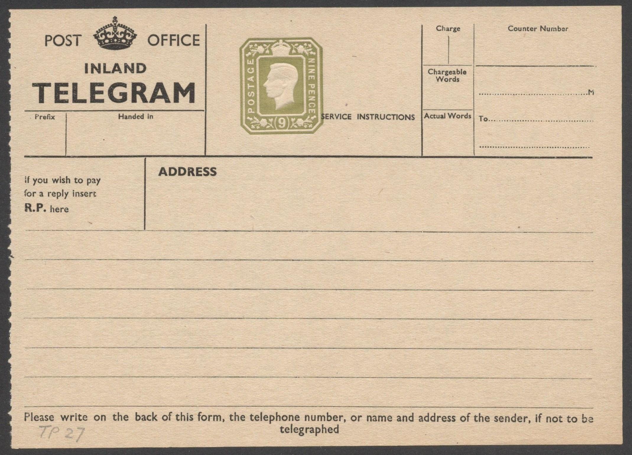 Lot 23 - POST OFFICE INLAND TELEGRAM 1940 KGVI TELEGRAPH FORM 9 PENCE