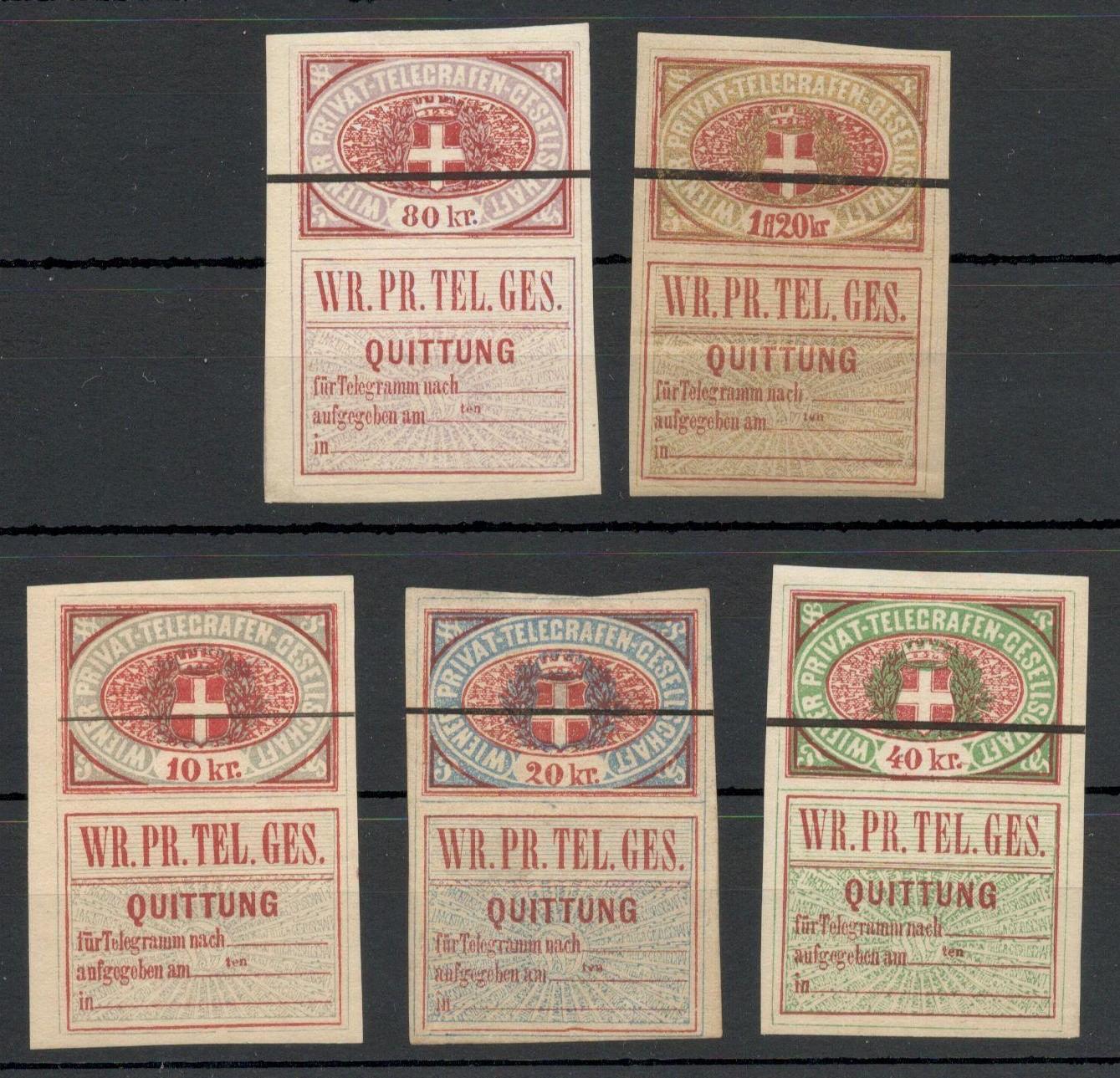 Lot 20 - AUSTRIAN PRIVATE TELEGRAPH STAMPS - 1870 WIENER PRIVAT-TELEGRAFEN-GESELLSCHAFT