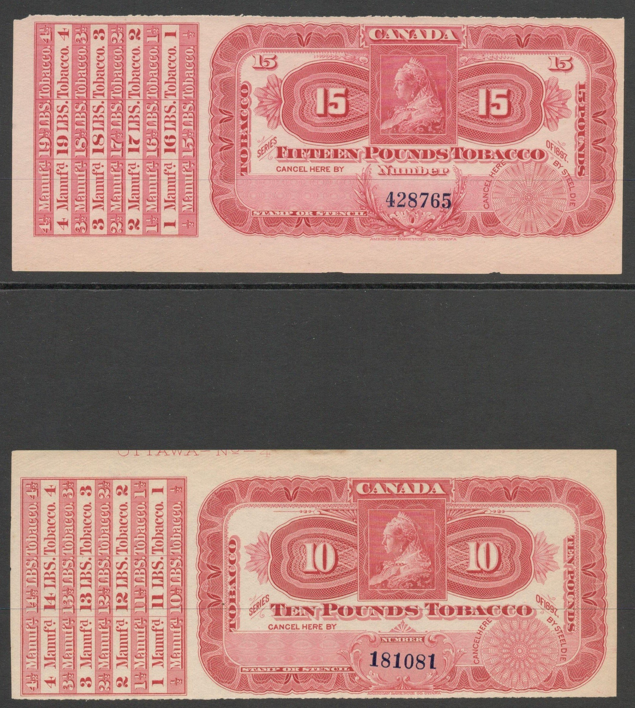 Lot 30 - QV CANADA EXCISE STAMPS SERIES OF 1897 TEN & FIFTEEN POUNDS TOBACCO