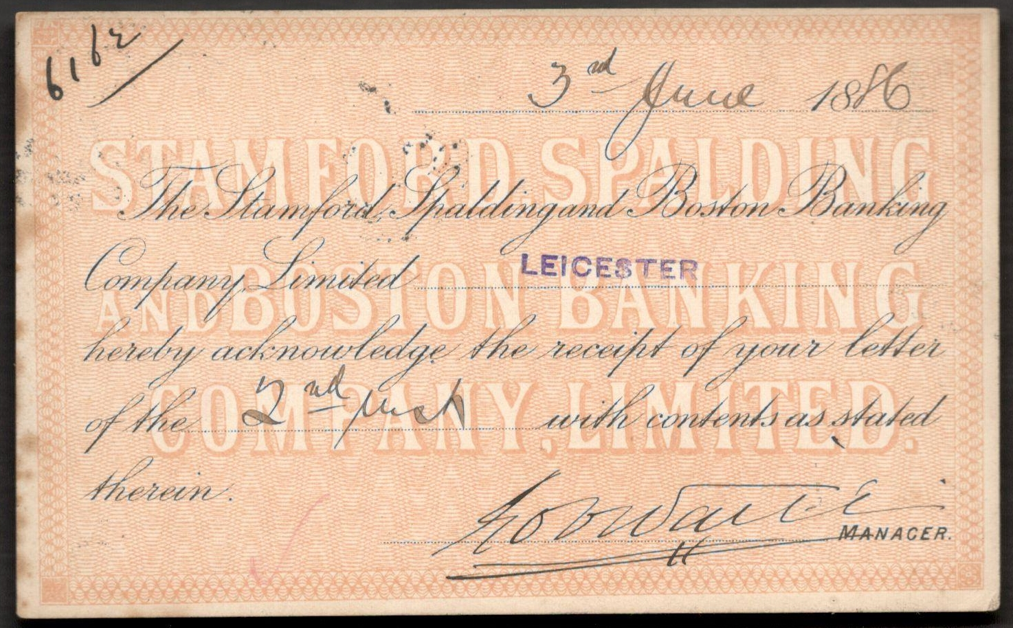 Lot 48 - QV POSTAL STATIONERY CARD 1886 STAMFORD SPALDING