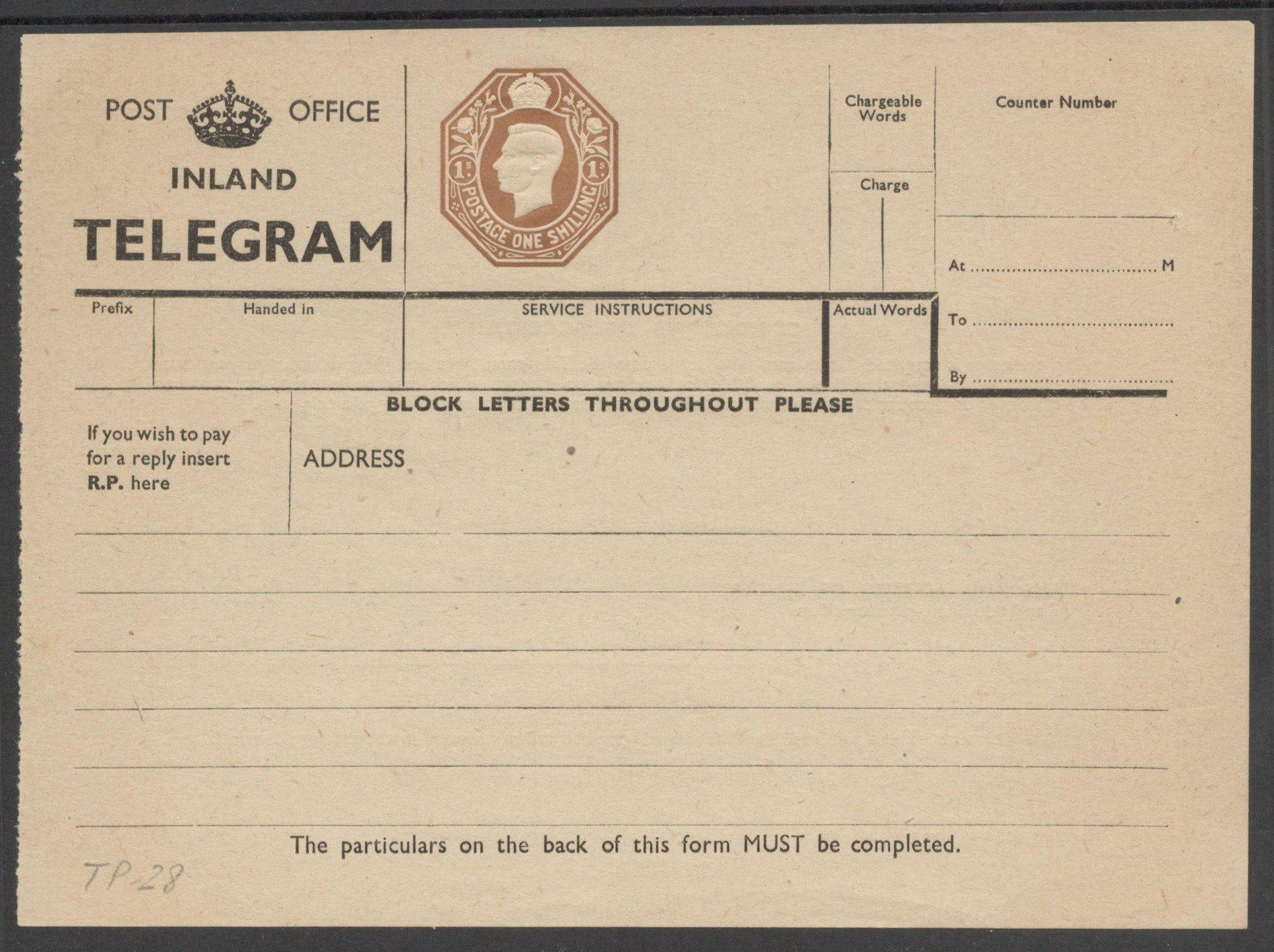 Lot 24 - POST OFFICE INLAND TELEGRAM 1940 KGVI TELEGRAPH FORM 1 SHILLING TP28