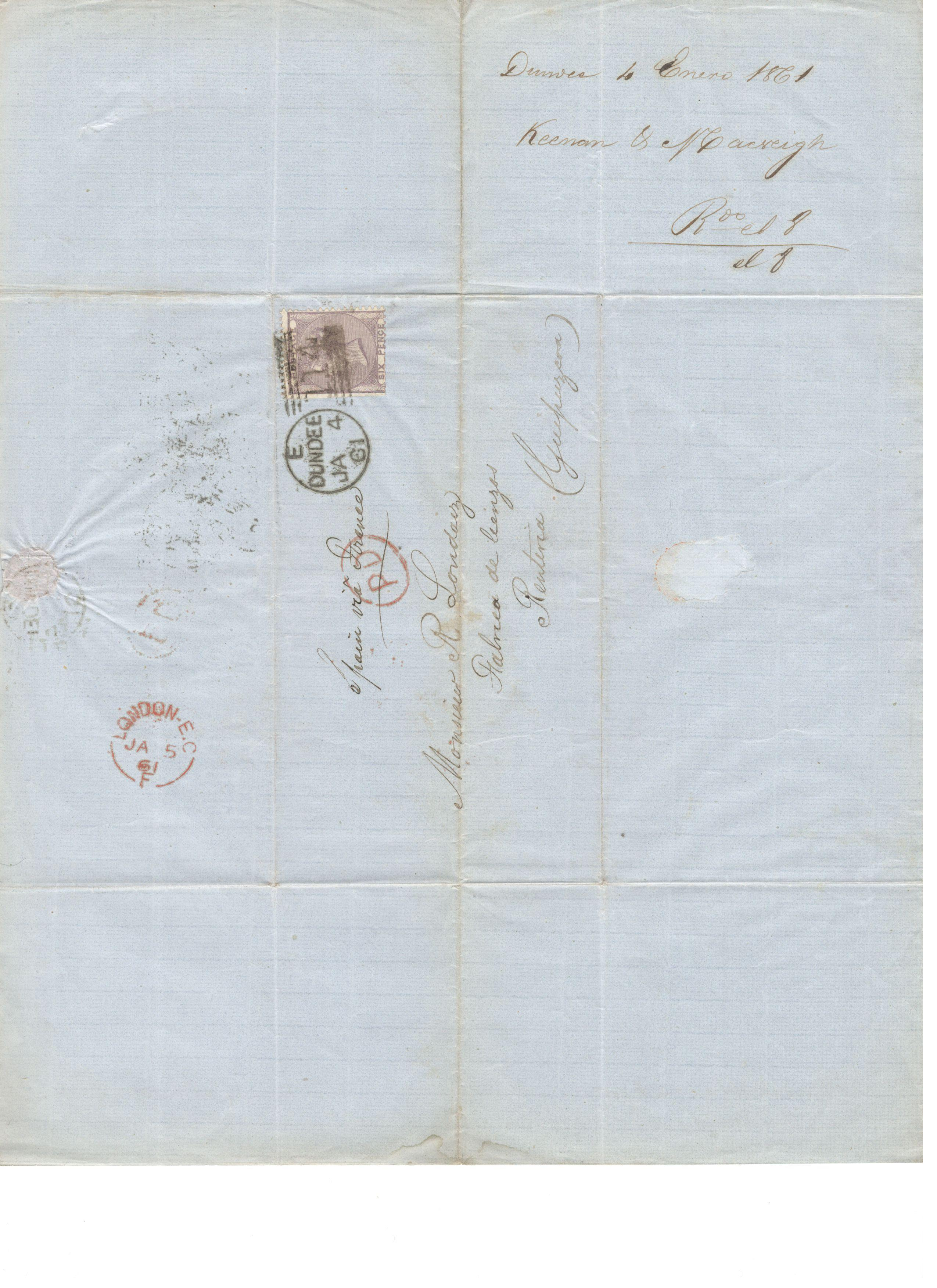 Lot 42 - ENTIRE SEND TO DUNDEE 1861 WITH SIX PENCE STAMP