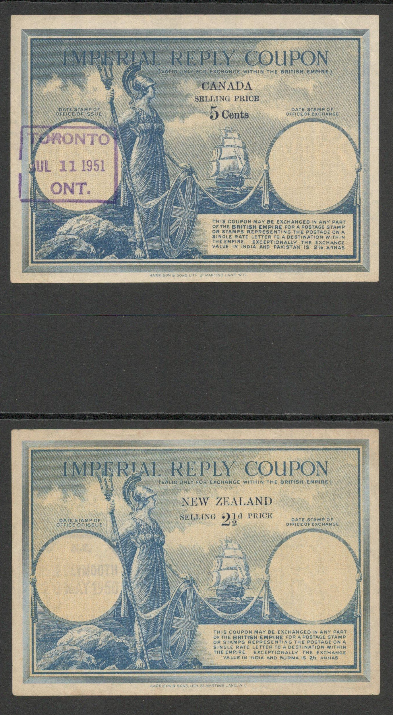 Lot 25 - IMPERIAL REPLY COUPONS (4) USED CANADA, NEW ZEALAND, SOUTH AFRICA & GB