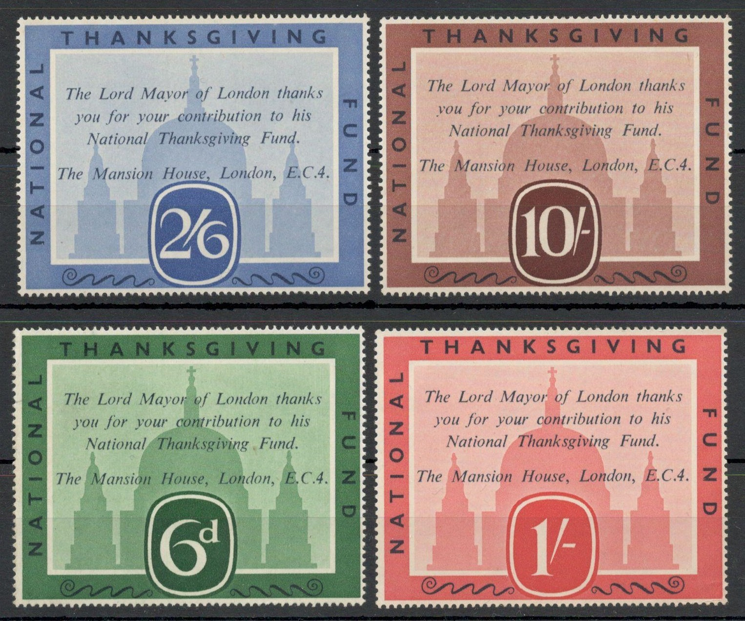 Lot 1 - NATIONAL THANKSGIVING FUND - LORD MAYOR OF LONDON SET OF FOUR VALUES - UNUSED