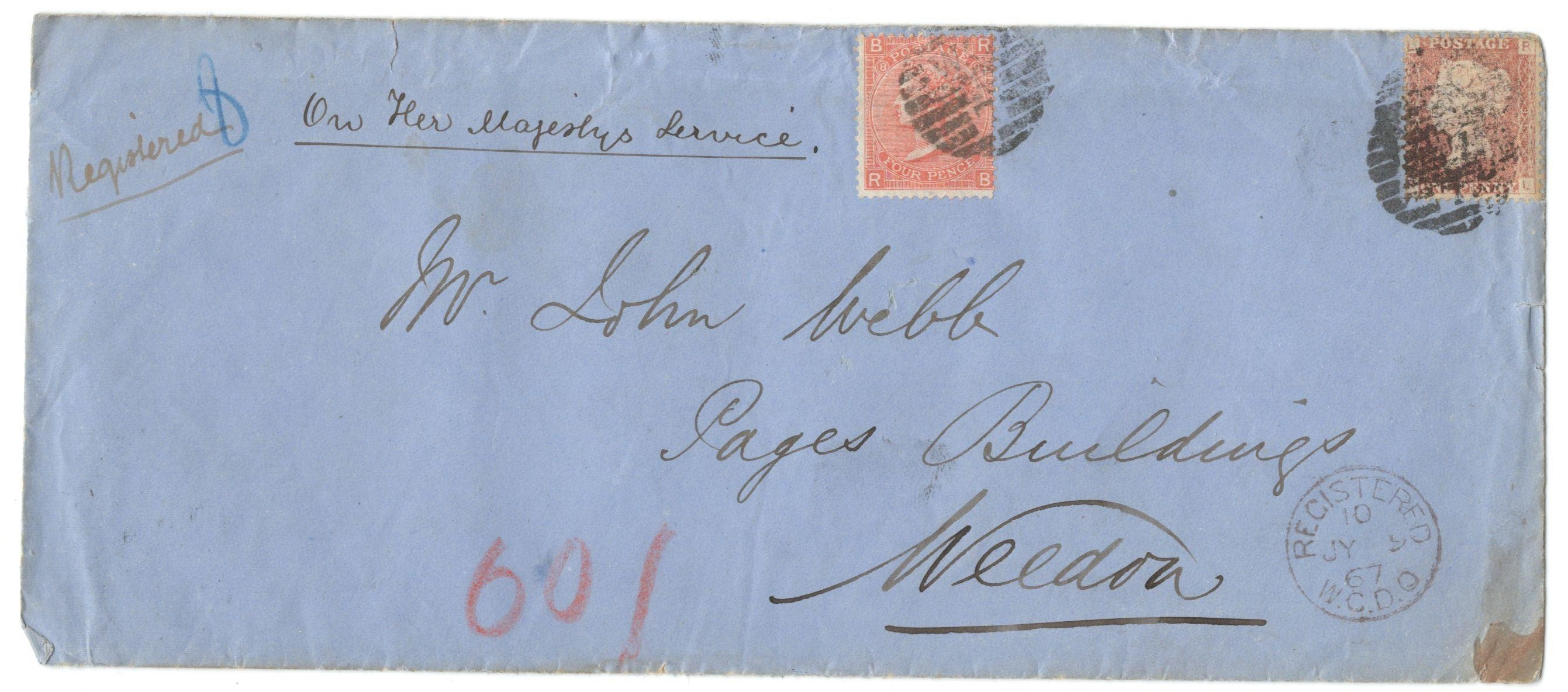 Lot 41 - COVER FROM 1867 TO LAND REGISTRY WITH 4 PENCE AND ACCOMPANYING LETTER WITH FISCAL STAMP