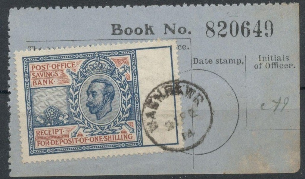 Lot 37 - POST OFFICE SAVINGS BANK RECEIPT WITH KGV STAMP USED 1914