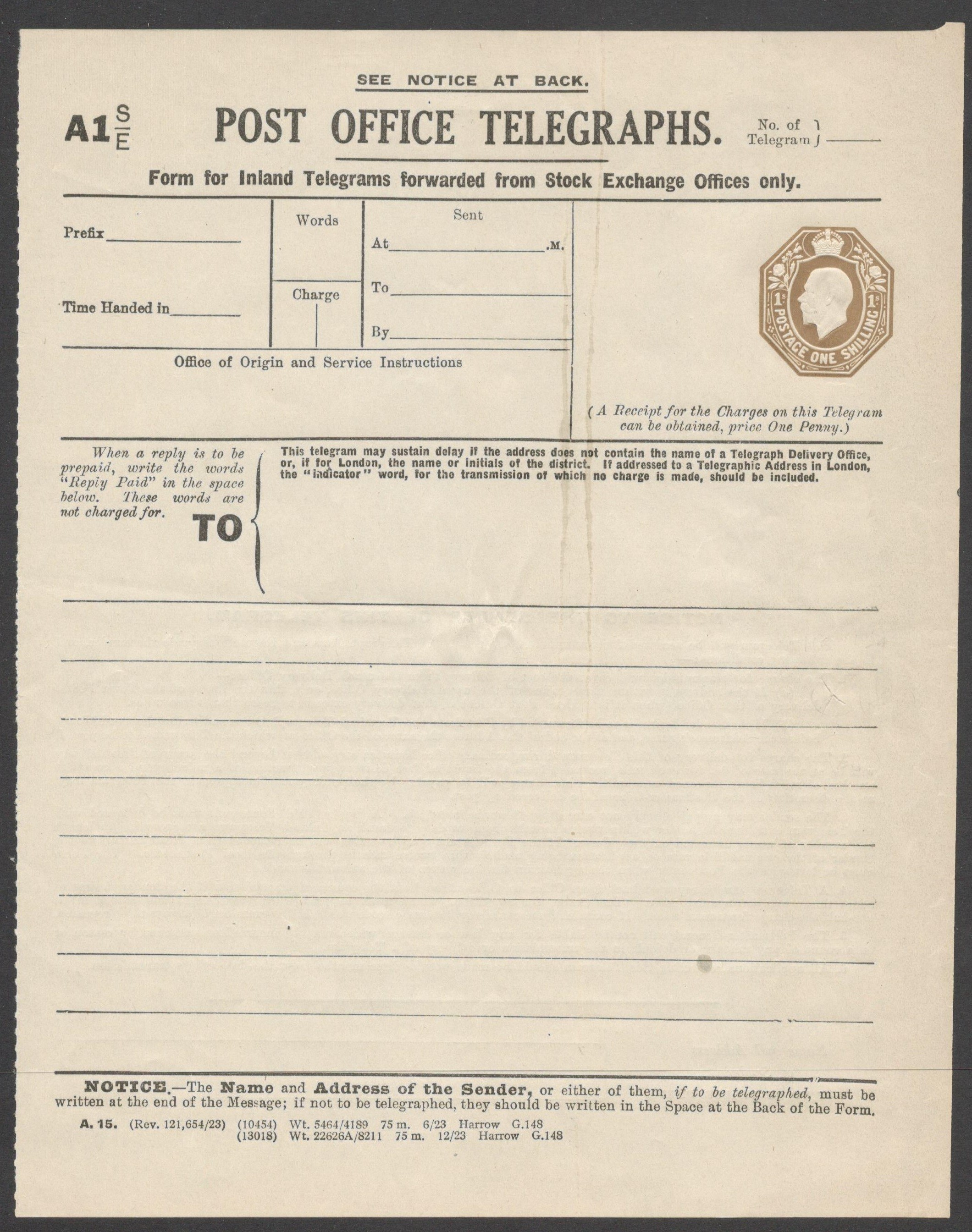 Lot 22 - POST OFFICE INLAND TELEGRAM FORWARDED FROM STOCK EXCHANGE OFFICES ONLY KGV TELEGRAPH FORM 1 SHILLING