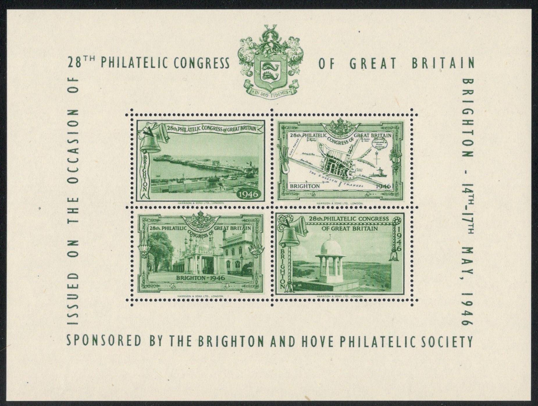 Lot 16 - 1946 BRIGHTON PHILATELIC CONGRESS OF GB - CONGRESS SOUVENIR MINIATURE SHEETS OF LABELS MNH