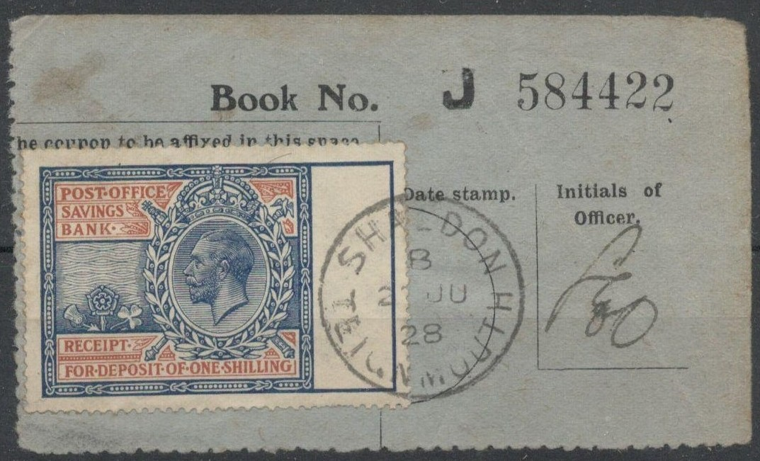 Lot 38 - POST OFFICE SAVINGS BANK RECEIPT WITH KGV STAMP USED 1928