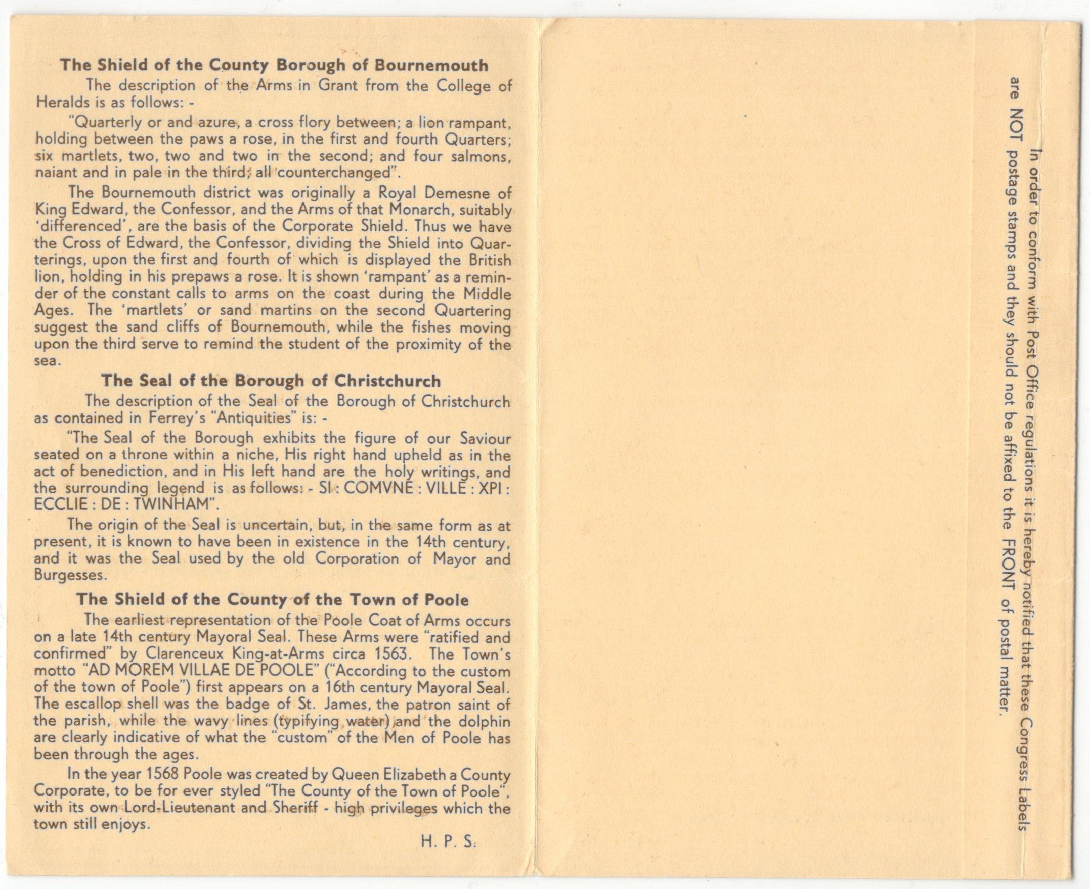 Lot 4 - 1948 BOURNEMOUTH Philatelic Congress of GB - Congress Souvenir Labels