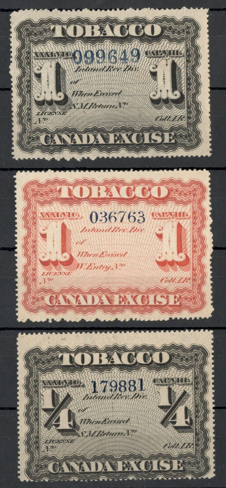 Lot 35 - CANADA TOBACCO EXCISE STAMPS (3)