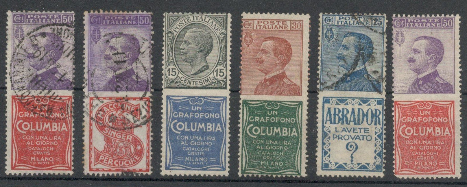 Lot 12 - STAMPS OF THE KINGDOM OF ITALY 1924 - SIX STAMPS WITH ADVERTISING TABS, USED AND UNUSED