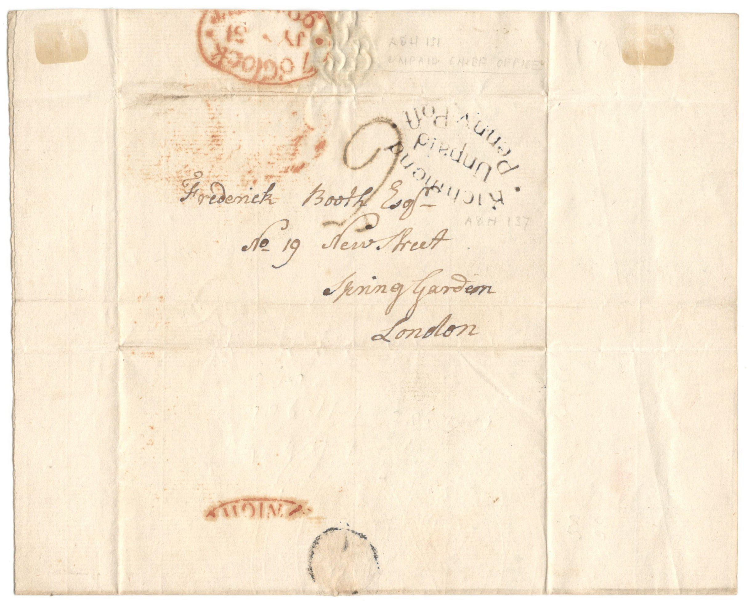 Lot 19 - POSTAL HISTORY 1799 - ENTIRE WITH UNPAID PENNYPOST RICHMOND STAMP