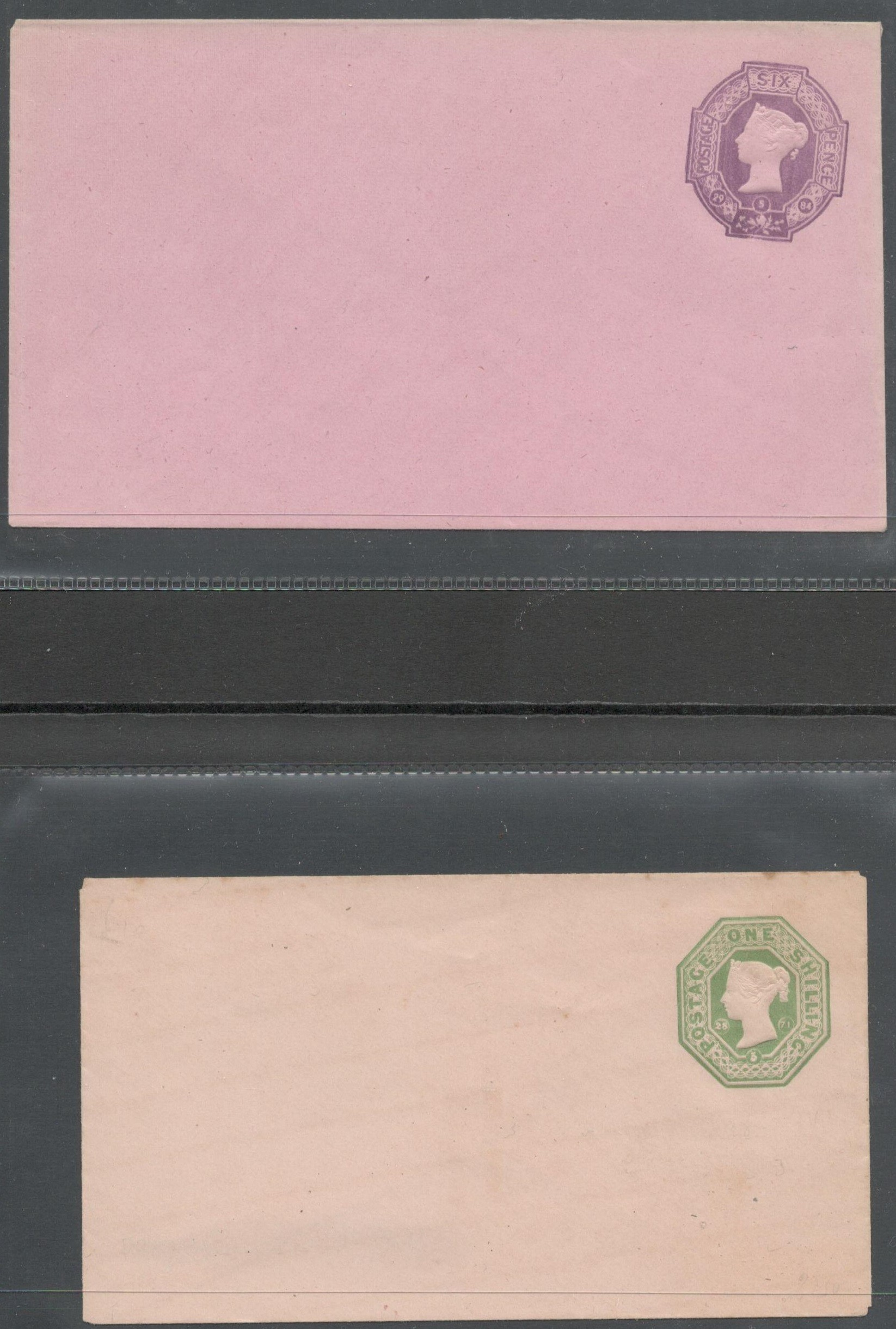 Lot 27 - QV POSTAL STATIONERY ENVELOPES WITH EMBOSSED STAMPS 6P (1884) & 1SHILLING (1871 )