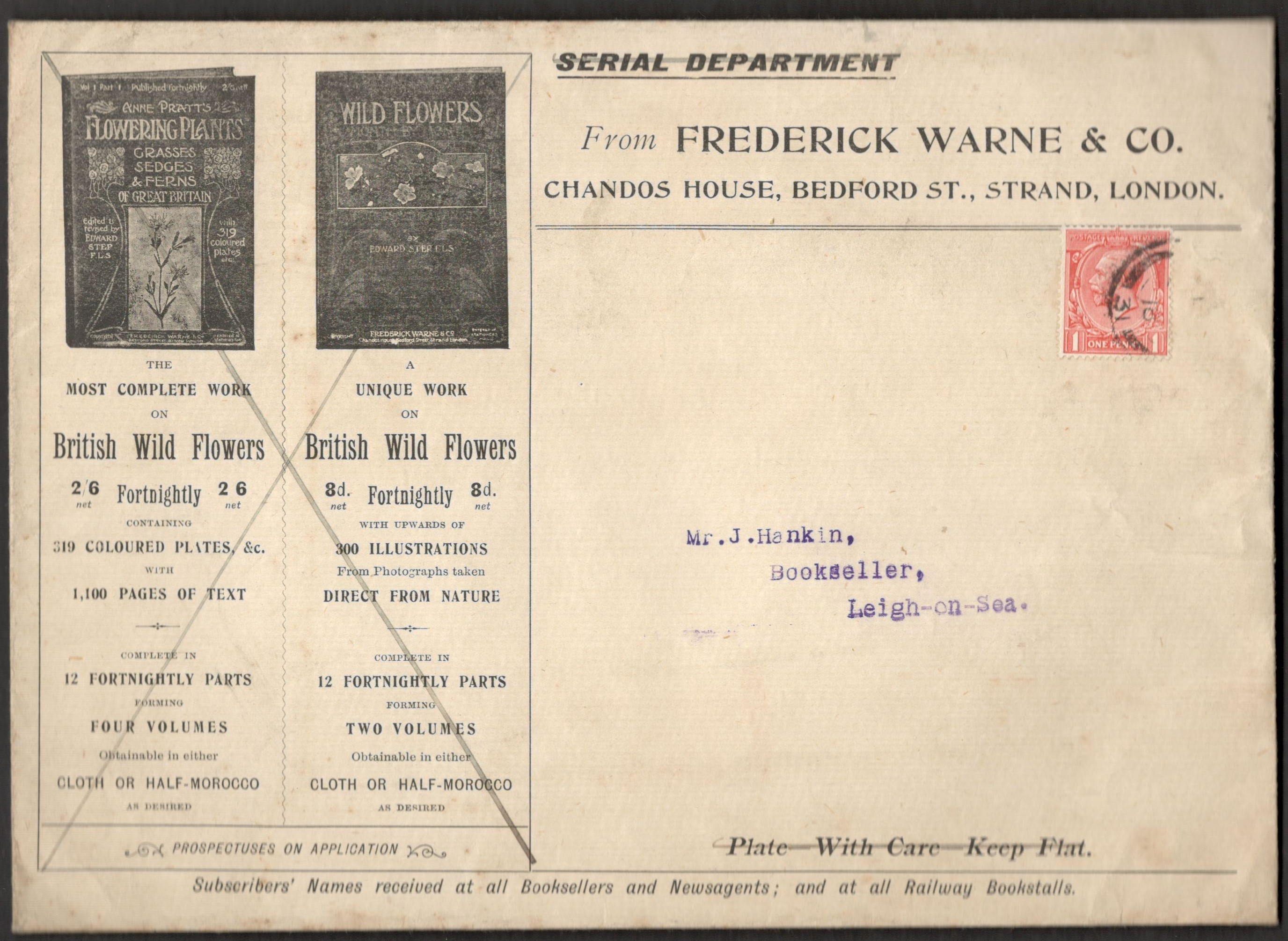 Lot 17 - ADVERTISING ENVELOPE FROM FREDERICK WARNE & CO