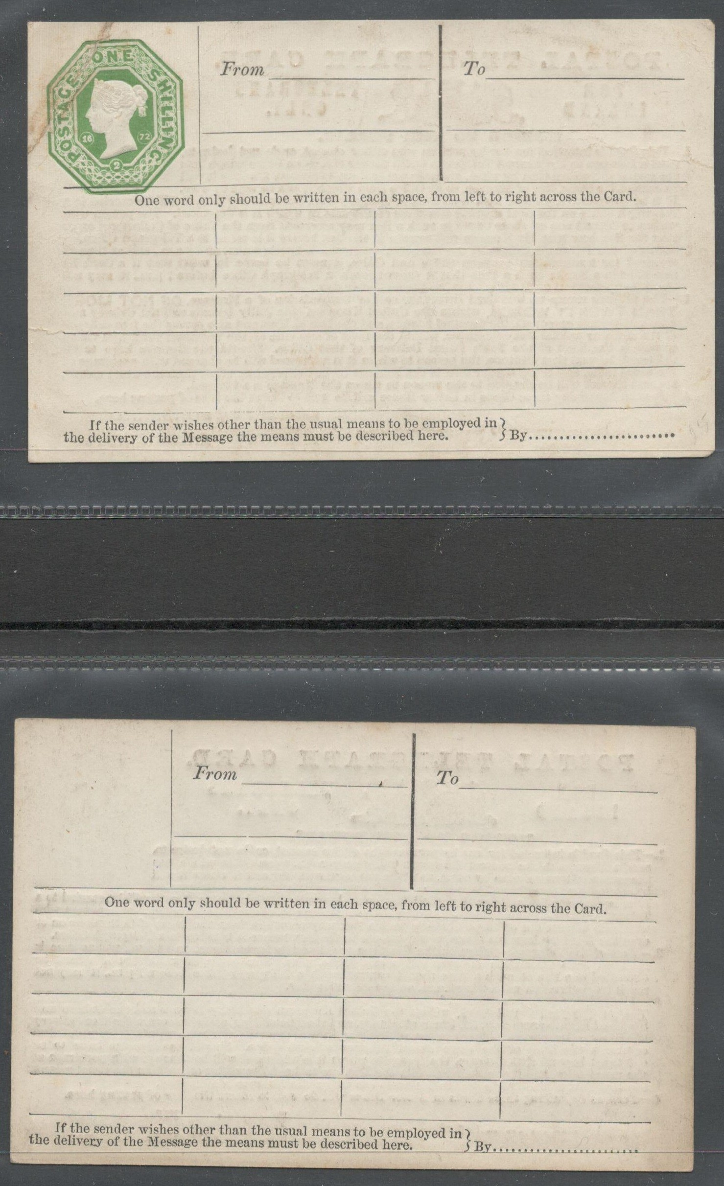 Lot 46 - QV POSTAL TELEGRAPH CARDS (ONE WITH EMBOSSED 1 SHILLING STAMP) FOR INLAND TELEGRAMS ONLY (2)