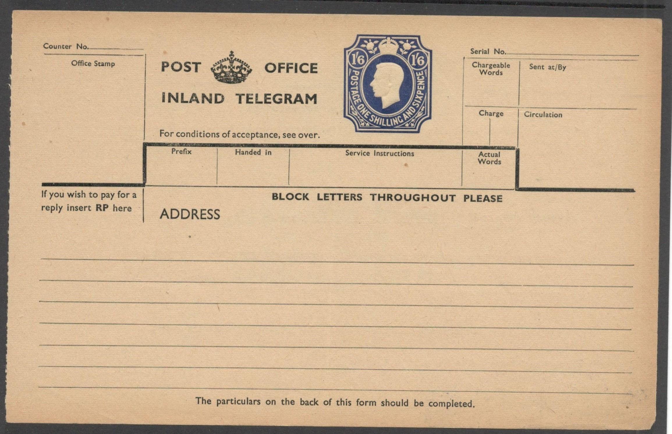 Lot 21 - POST OFFICE INLAND TELEGRAM 1951 KGVI TELEGRAPH FORM 1 SHILLING 6 PENCE