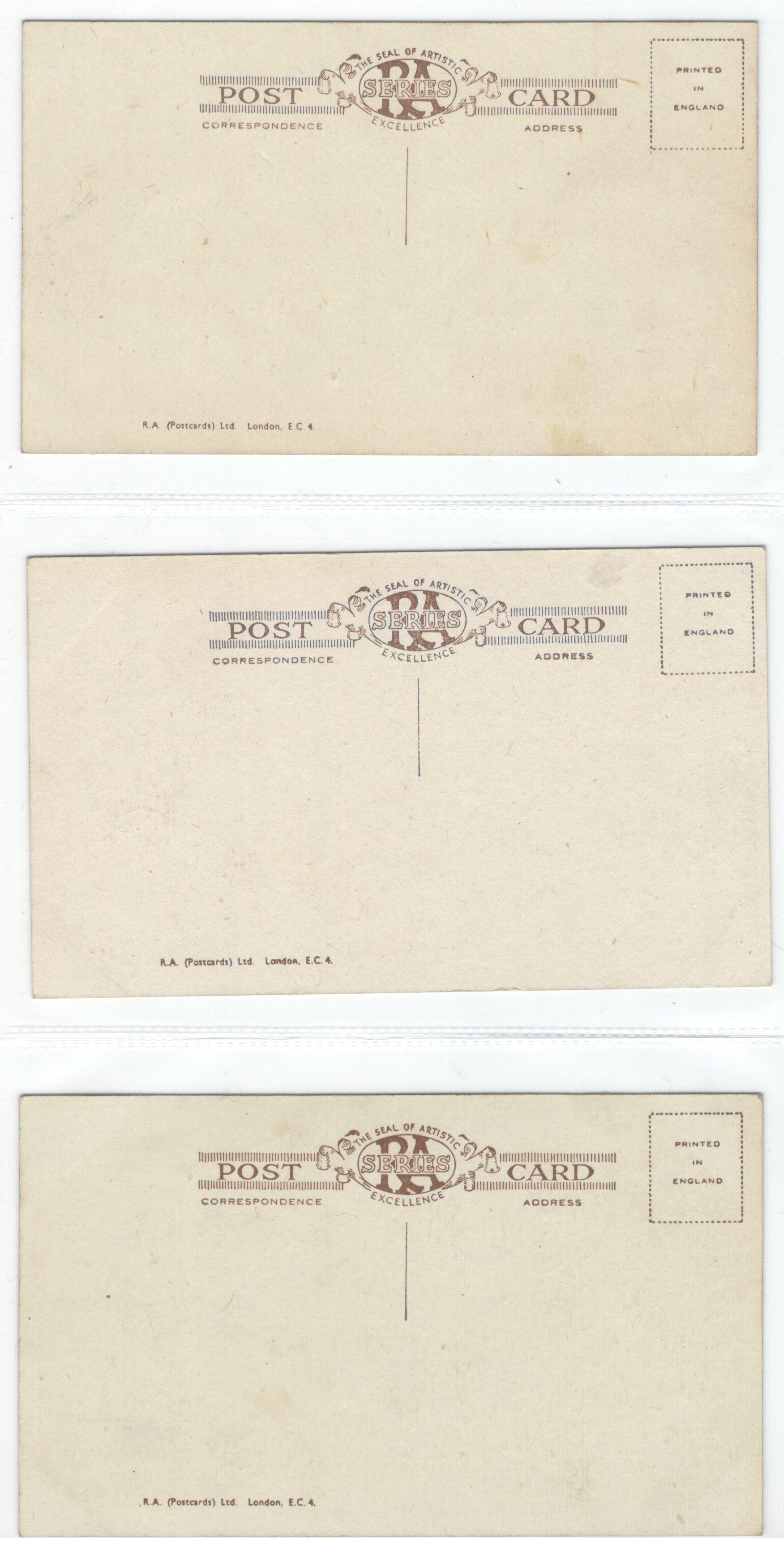 Lot 11 - SET OF SIX VINTAGE POSTCARDS - THE SEAL OF THE ARTISTIC EXCELLENCE SEAL RA SERIES