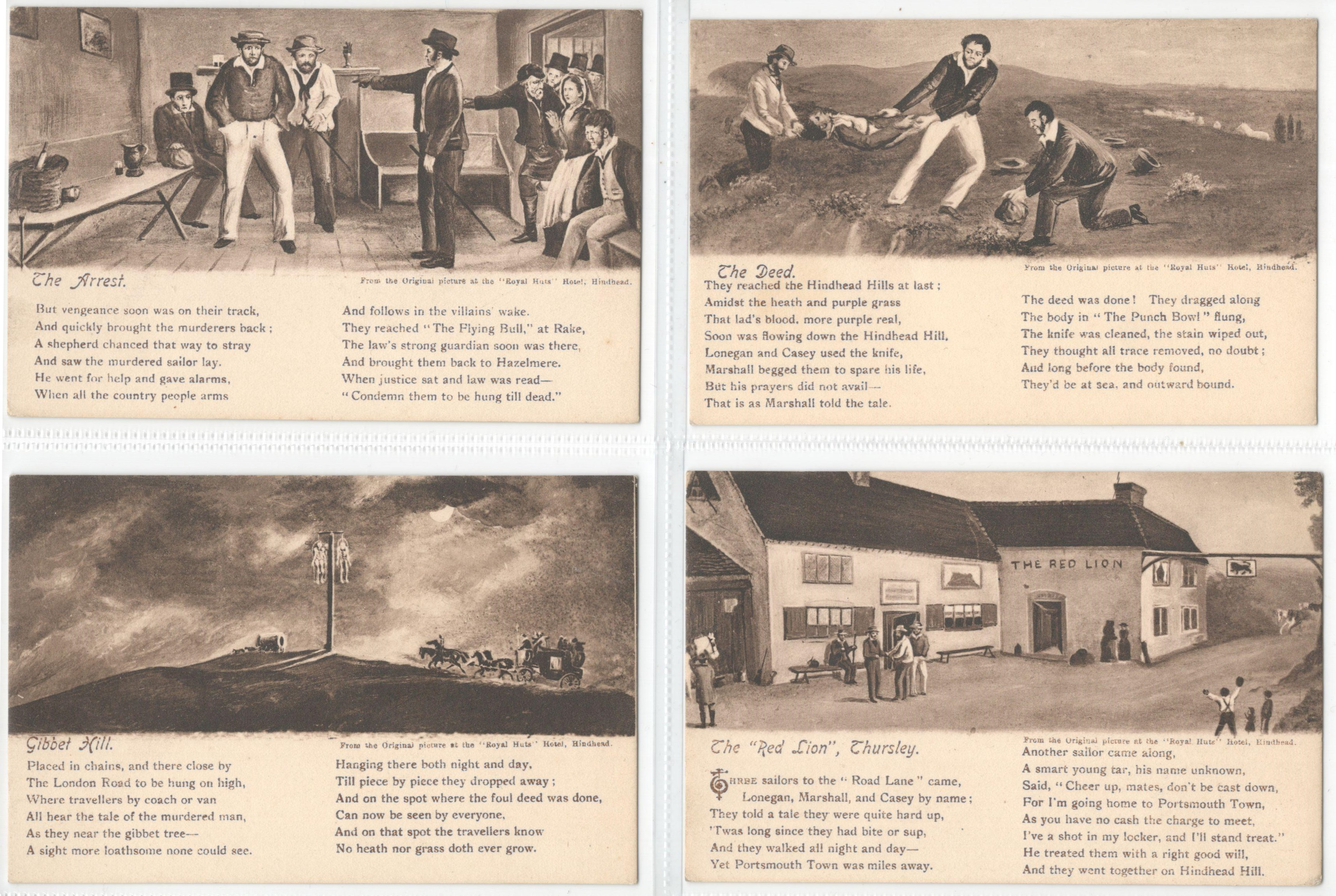 Lot 58 - SET OF FOUR POSTCARDS FROM THE ORIGINAL PICTURES AT THE ROYAL HUTS HOTEL HINDHEAD