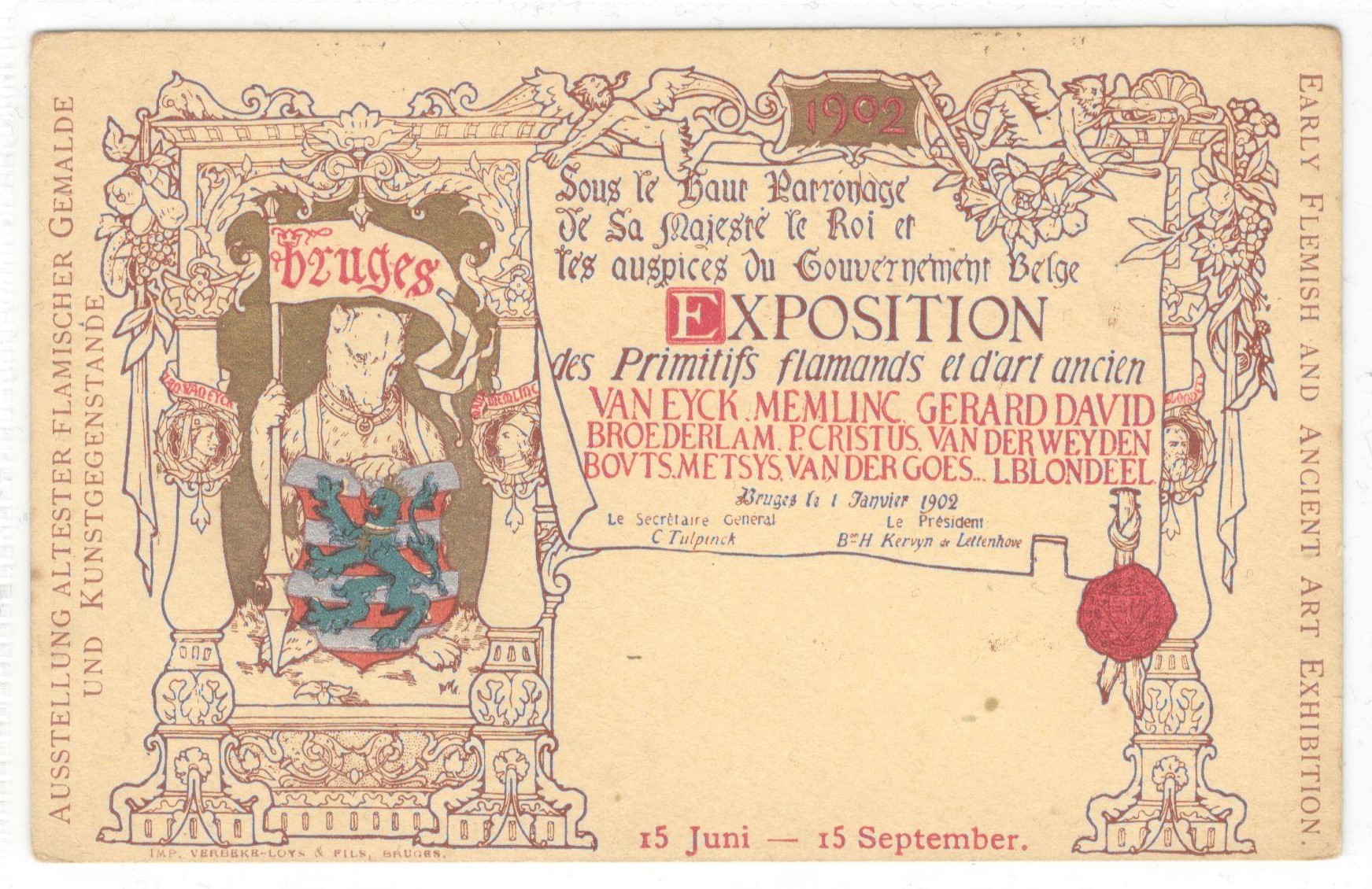 Lot 22 - 1902 EARLY FLEMISH AND ANCIENT ART EXHIBITION POSTCARD