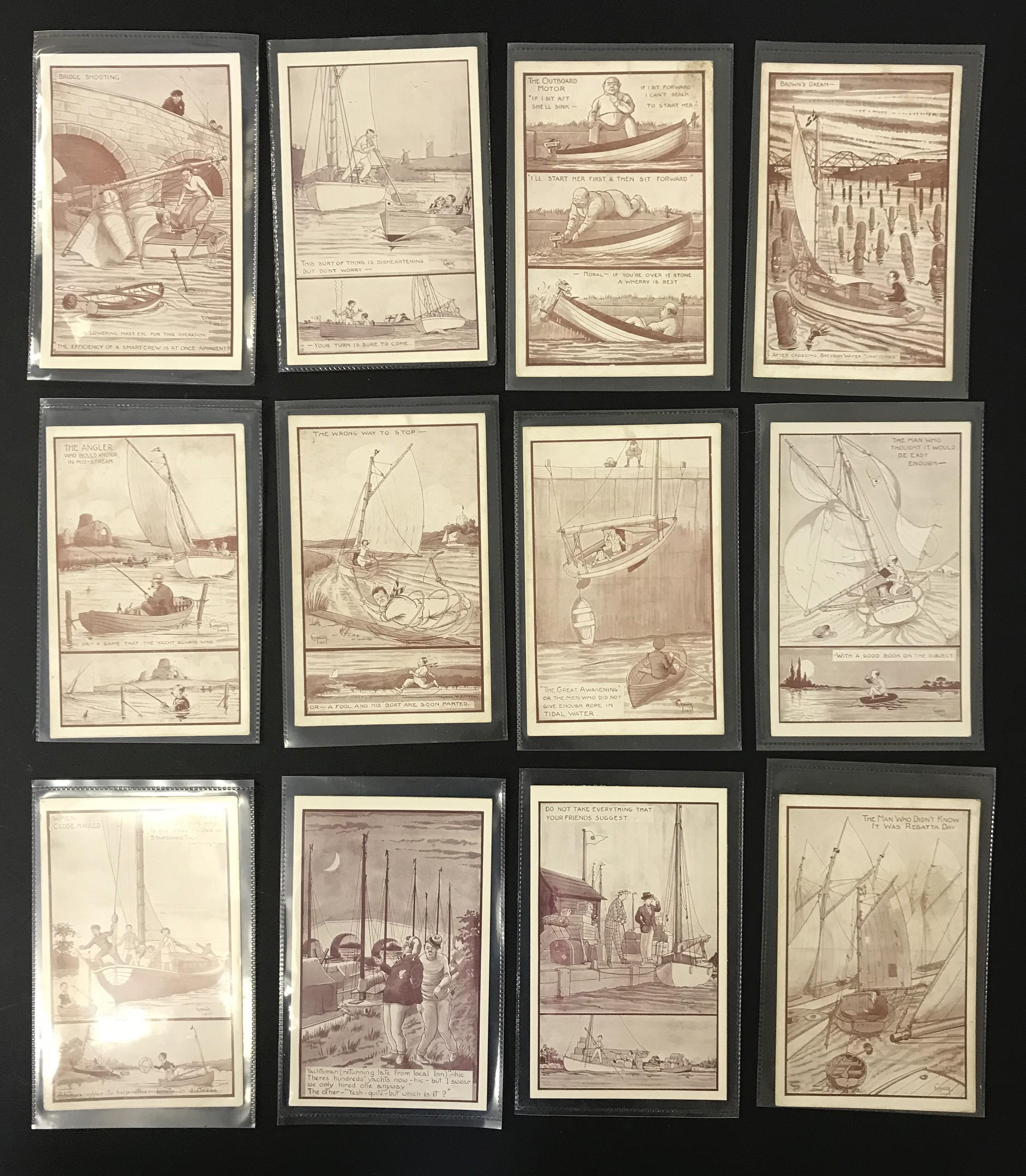 Lot 39 - COMPLETE SET OF TWELVE ARTIST SIGNED COMIC POSTCARDS - NORFOLK BROADS