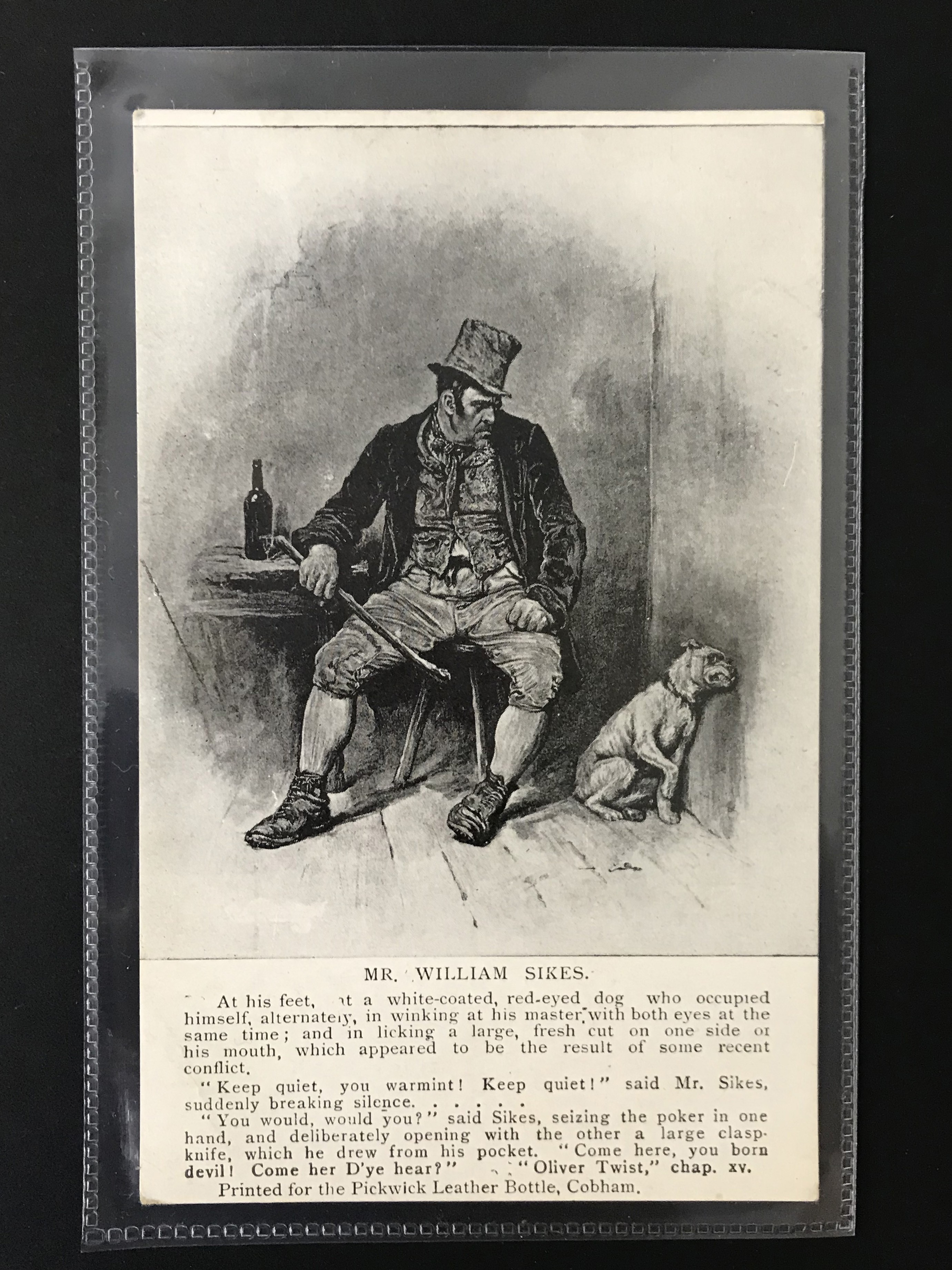Lot 37 - GROUP OF SEVEN DICKENS RELATED POSTCARDSPRINTED FOR THE PICKWICK LEATHER BOTTLE COMPANY