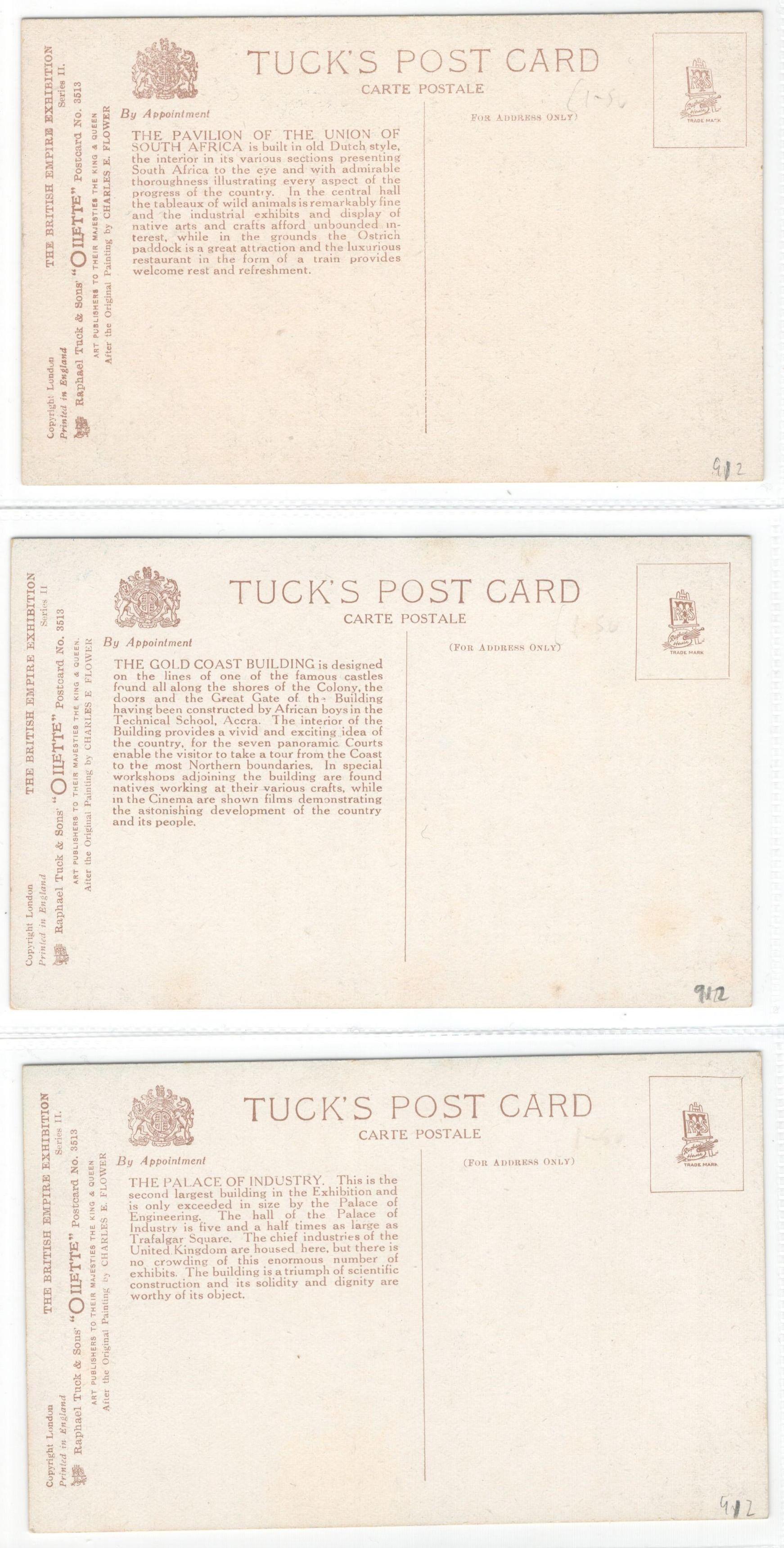 Lot 57 - SET OF SIX RAPHAEL TUCK POSTCARDS - THE BRITISH EMPIRE EXHIBITION SERIES II - 3513