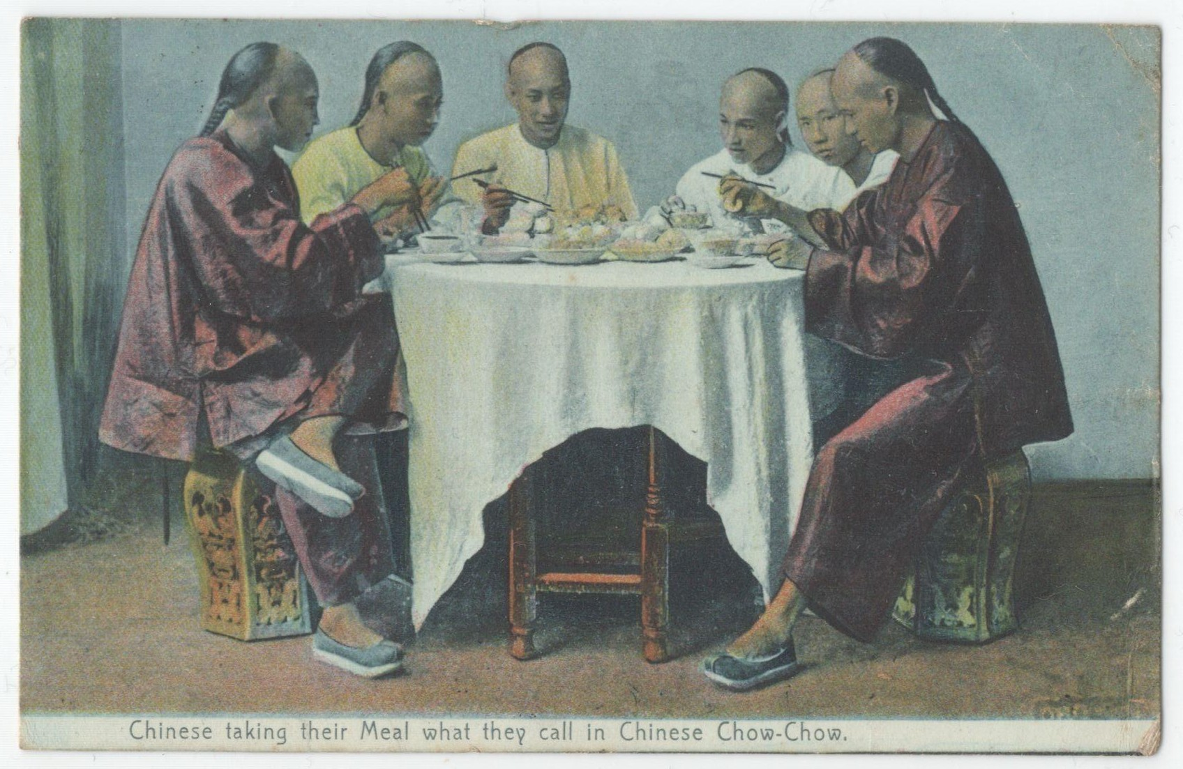 Lot 2 - CHINESE TAKING THEIR MEAL CHOW-CHOW - POSTED POSTCARD TEMPORARY P.O. CHOWRASTA 1908