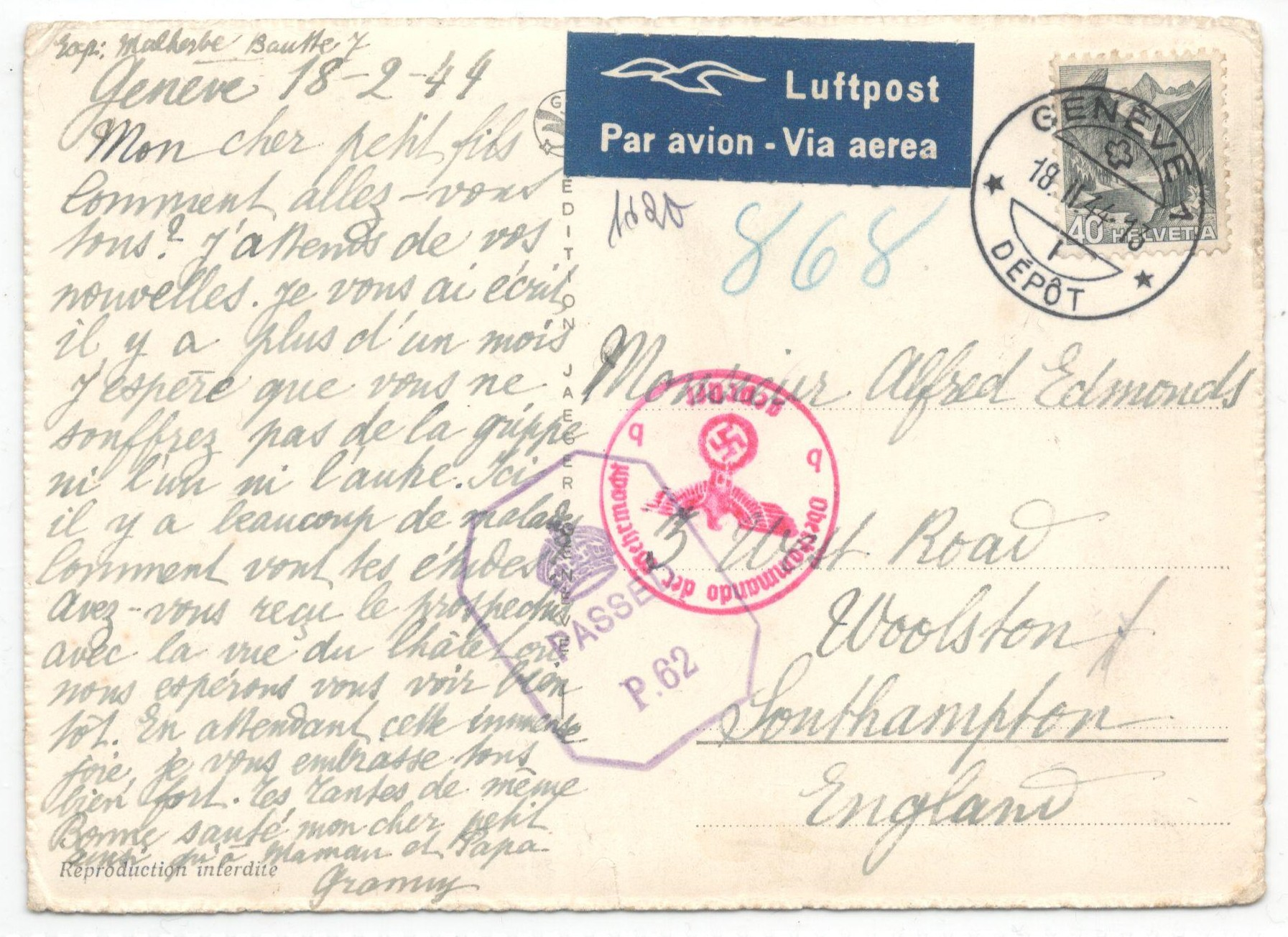 Lot 17 - 1944 COMITE INTERNATIONAL DE LA CROIX ROUGE GENEVE - POSTED 1944 PASSED BY CENSOR