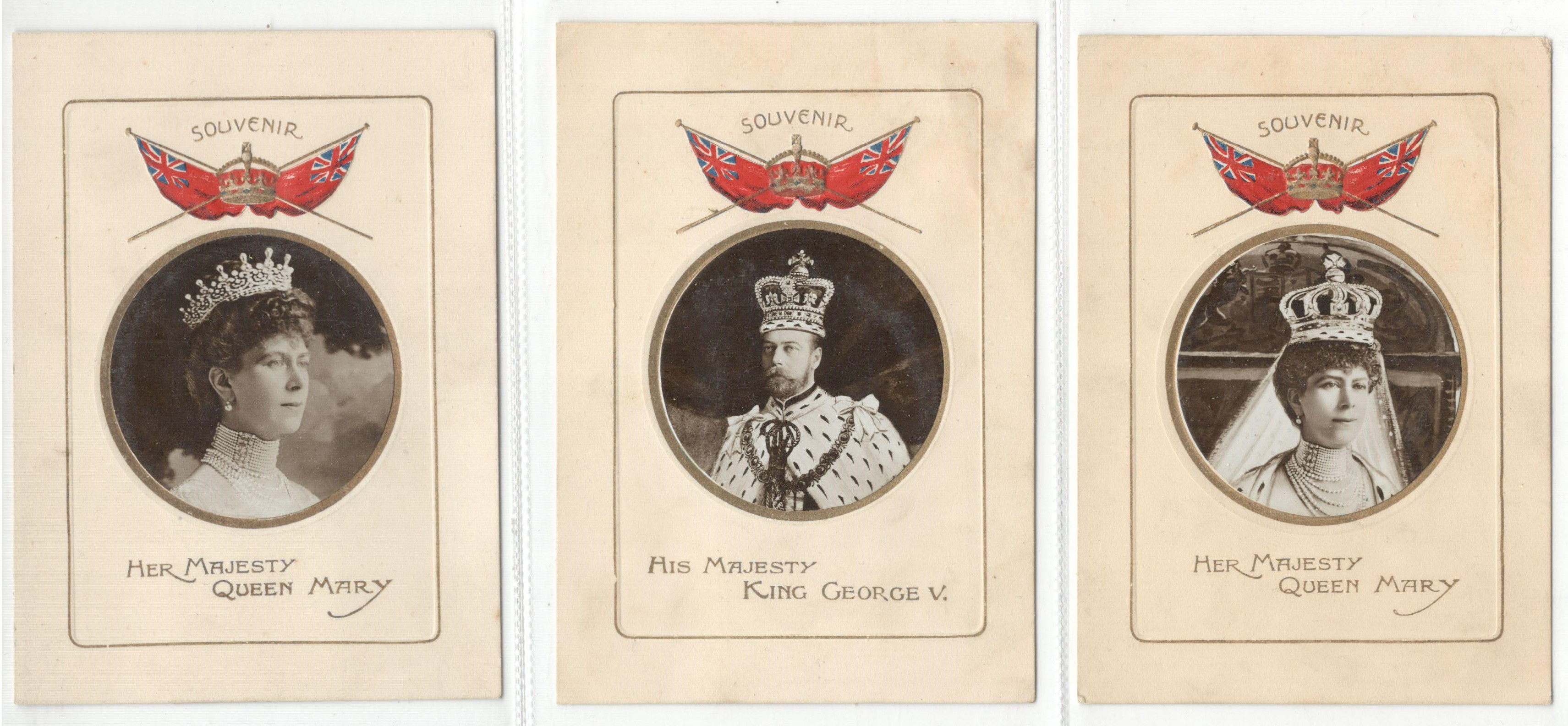 Lot 12 - THREE SOUVENIR SMALL SIZE POSTCARDS HIS MAJESTY KING GEORGE V & QUEEN MARY