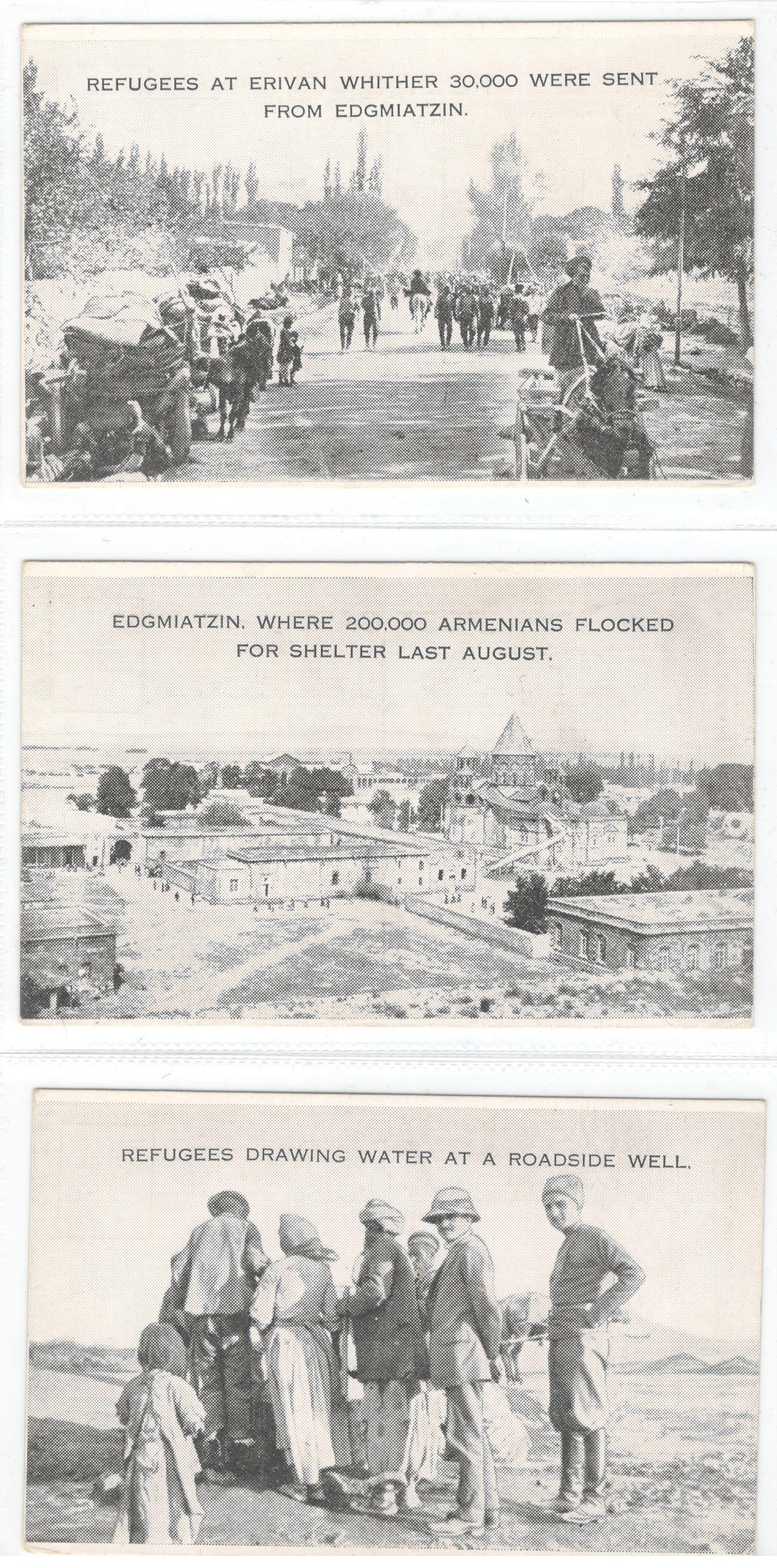 Lot 7 - THREE PRINTED PHOTOGRAPHS OF ARMENIAN REFUGEES AT EDGMIATZIN & ERIVAN