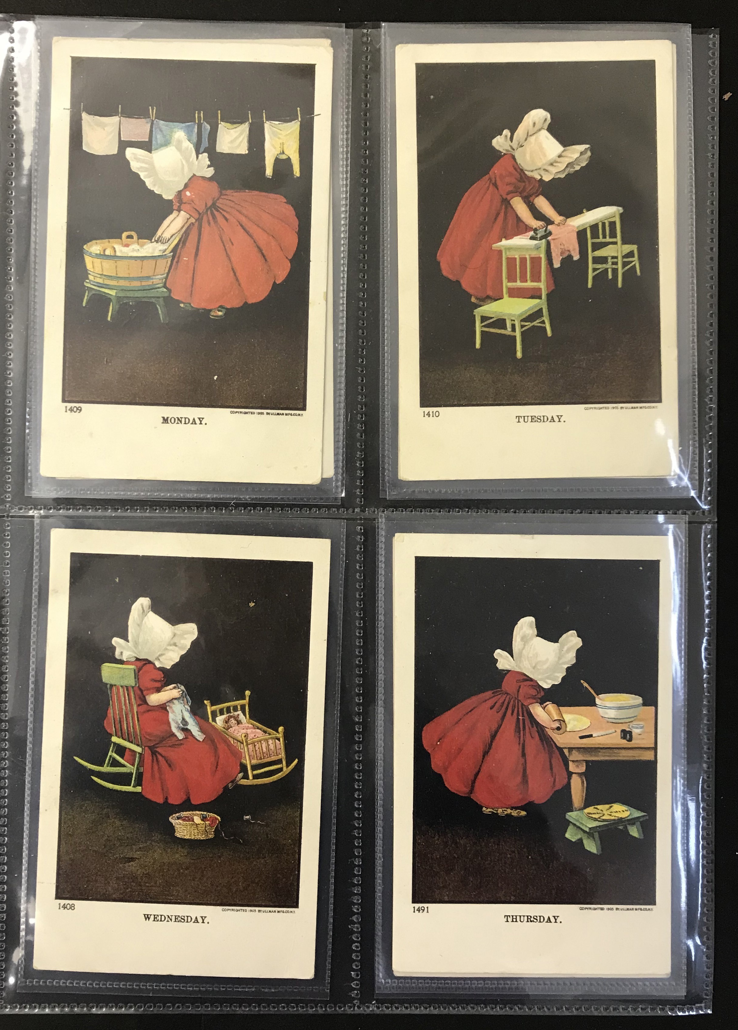 Lot 10 - Ullman Manufacturing Co. Postcards - Complete set of Sunbonnet Baby Days