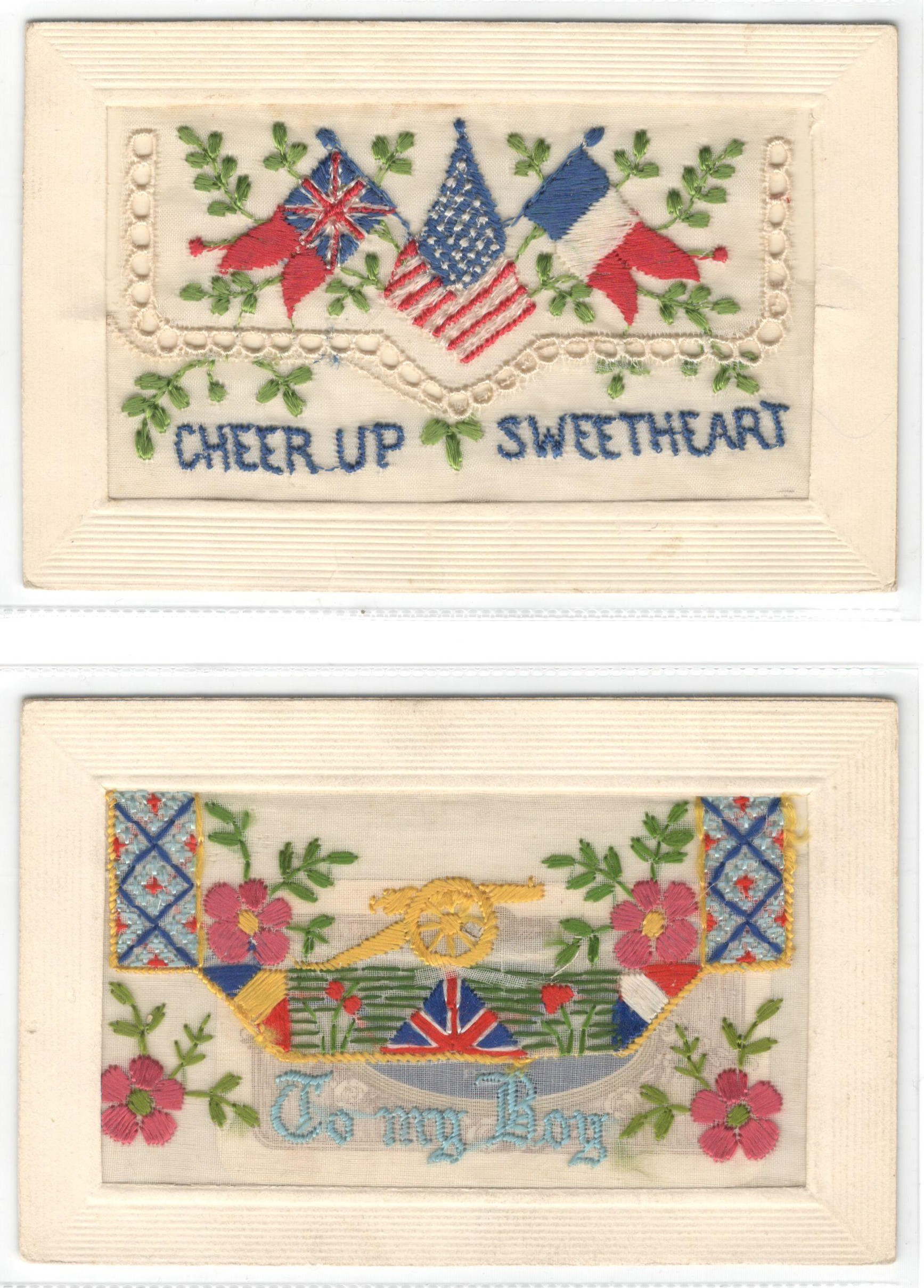 Lot 20 - FIFTEEN EARLY EMBROIDERED SILK POSTCARDS IN VARIOUS CONDITION