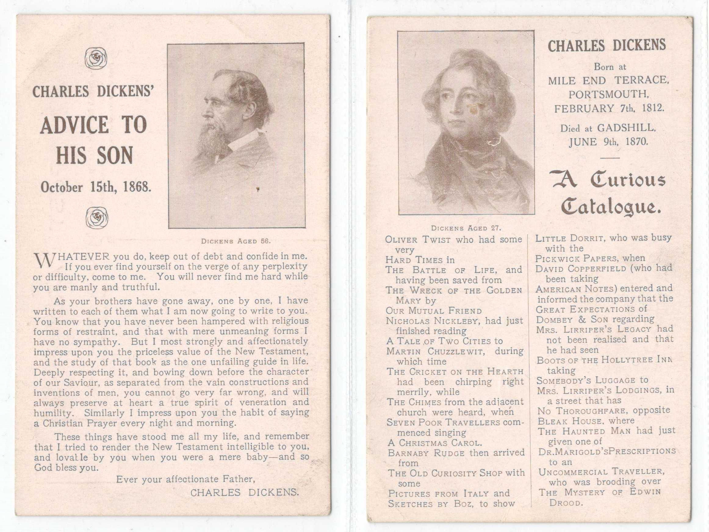 Lot 9 - TWO VINTAGE CHARLES DICKENS RELATED POSTCARDS