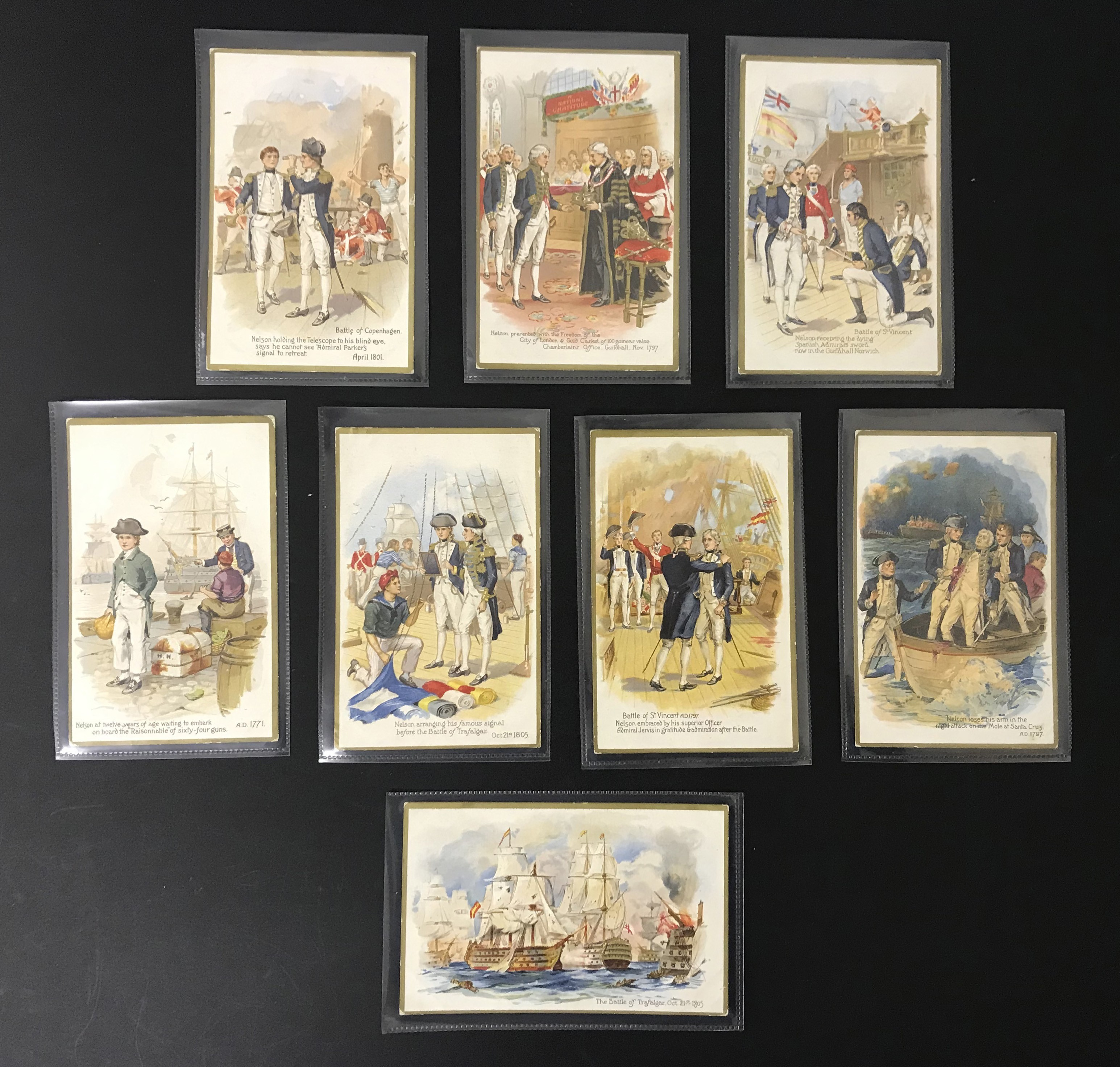 Lot 32 - SET OF EIGHT OLD UNUSED POSTCARDS - LORD NELSON