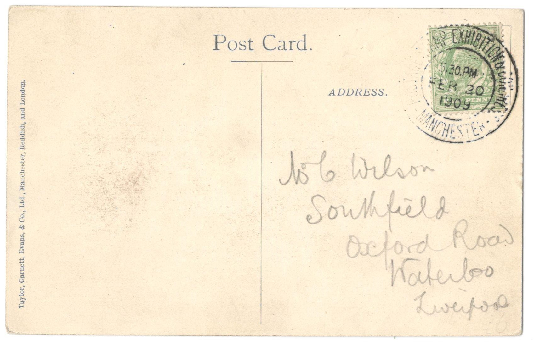 Lot 1 - SOUVENIR CARD OF THE MANCHESTER POSTAGE STAMP EXHIBITION & PHILATELIC CONGRESS
