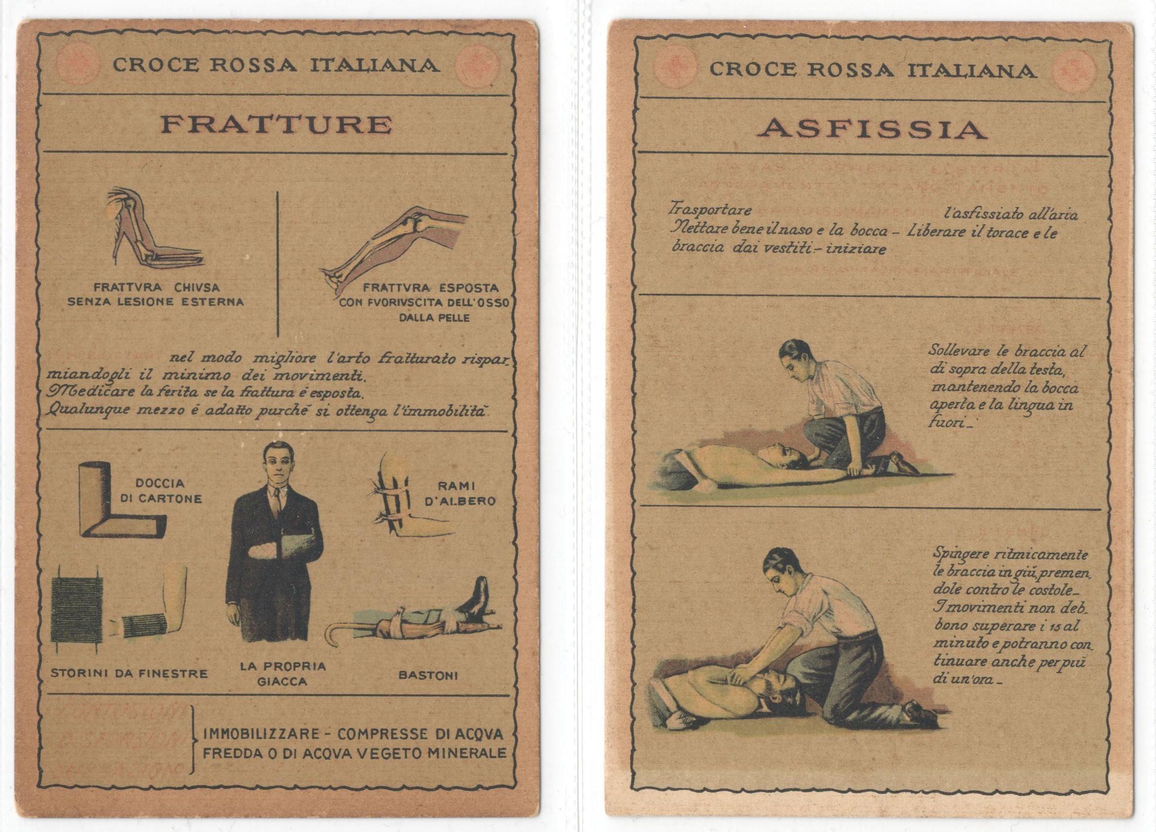 Lot 8 - TWO VINTAGE ITALIAN RED CROSS POSTCARDS - CROCE ROSSA ITALIANA FRATTURE & ASFISSIA