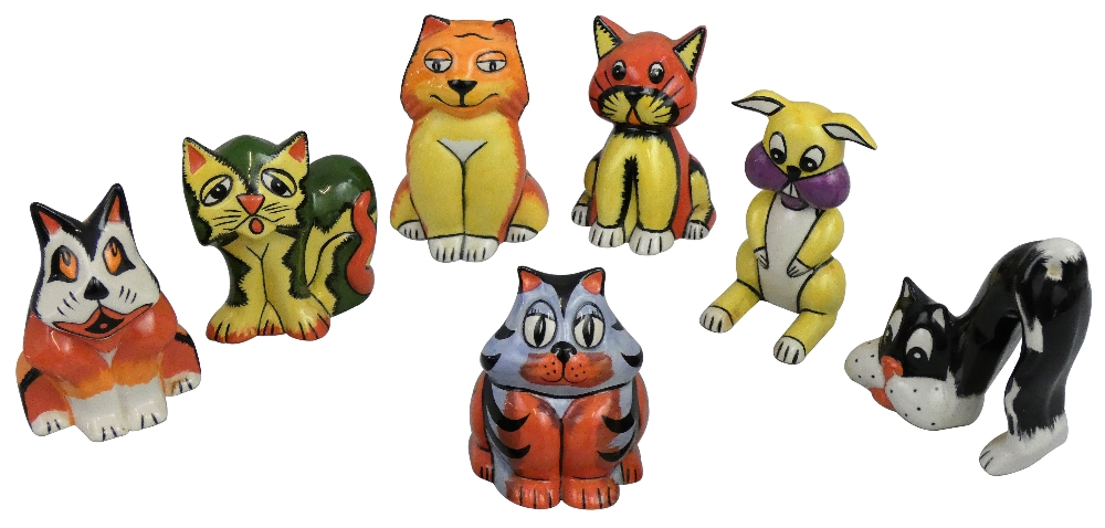 Lot 192 - Seven various animal figures by Lorna Bailey, to include tabby cat, bunny, fox and lion, all