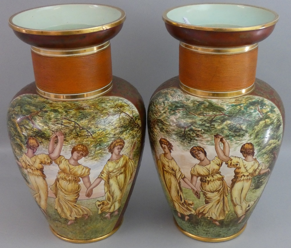 Lot 190 - A pair of late 19th century continental large vases, circa 1880, of baluster form, with Three Graces
