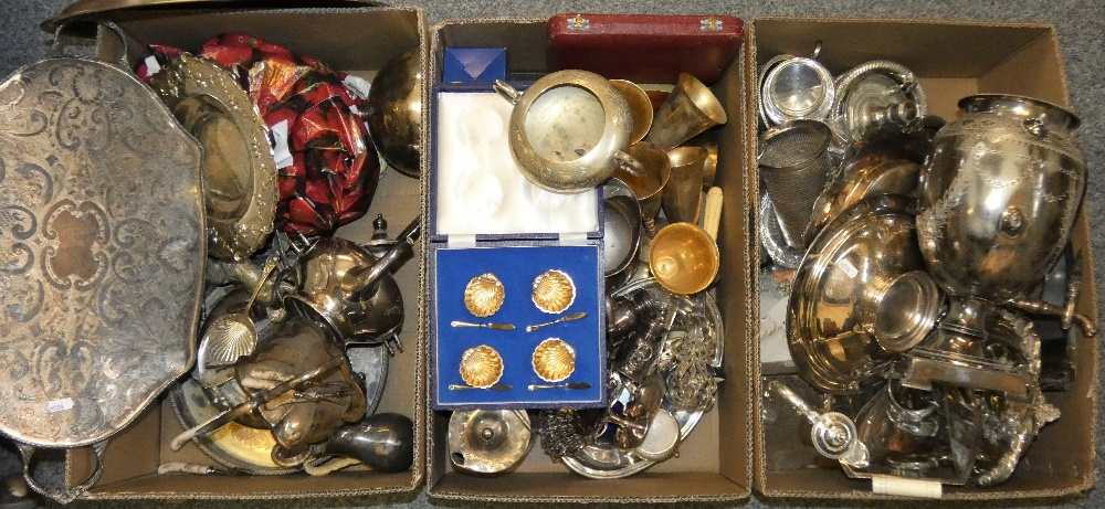 Lot 143 - Three boxes of electroplated wares to include a tea urn (3)