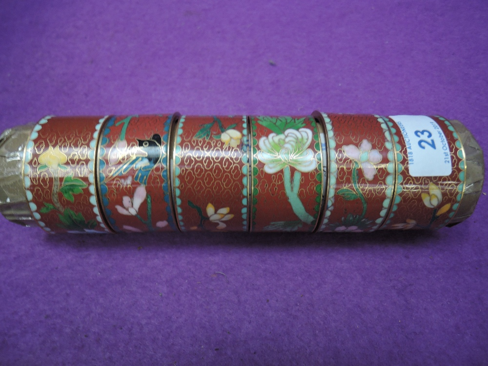 Lot 23 - A selection of including enamel and cloisone napkin or similar rings