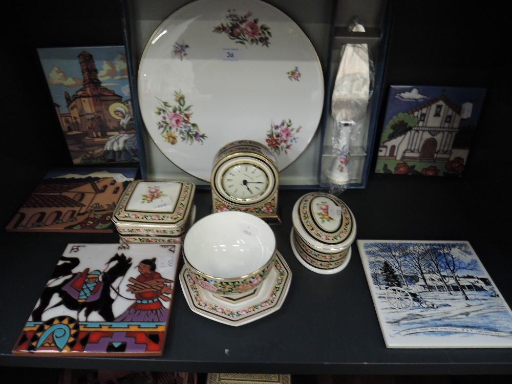 Lot 36 - A selection of ceramics including Wedgwood Clio and decorated tiles