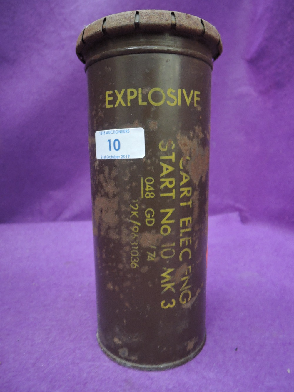 Lot 10 - A vintage military related explosives tin