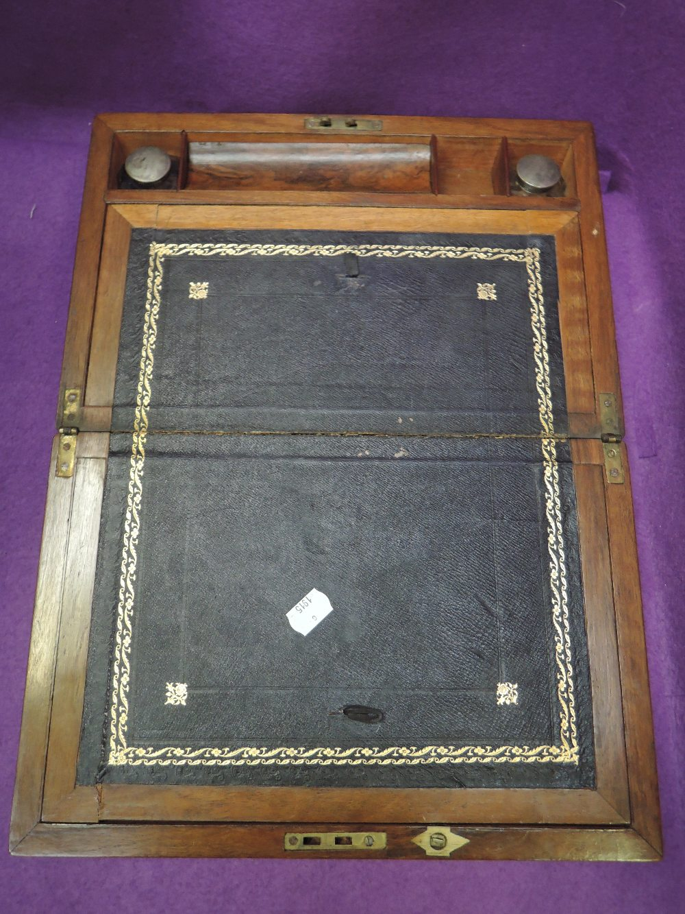 Lot 12 - A brass and veneer writers compendium with internal fitments