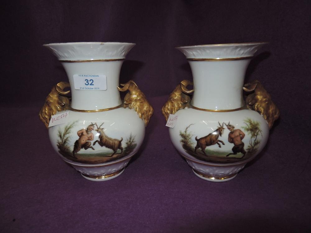 Lot 32 - A pair of Dresden style mantle vase with mythological image AF