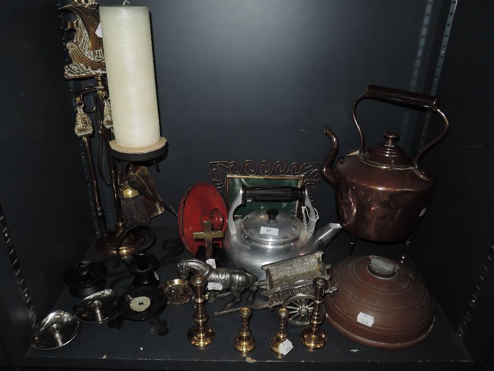 Lot 47 - A selection ofmetal wares including stove kettle and companion set