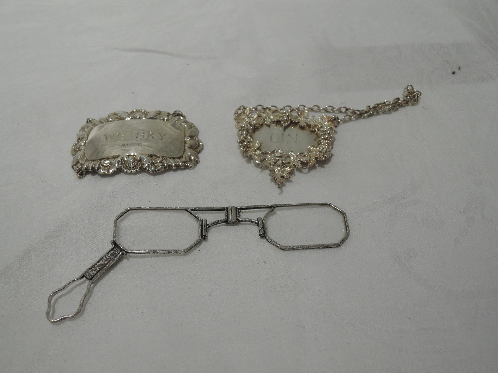 Lot 37 - Two HM silver decanter labels for Gin & Whisky and a white metal lorgnette
